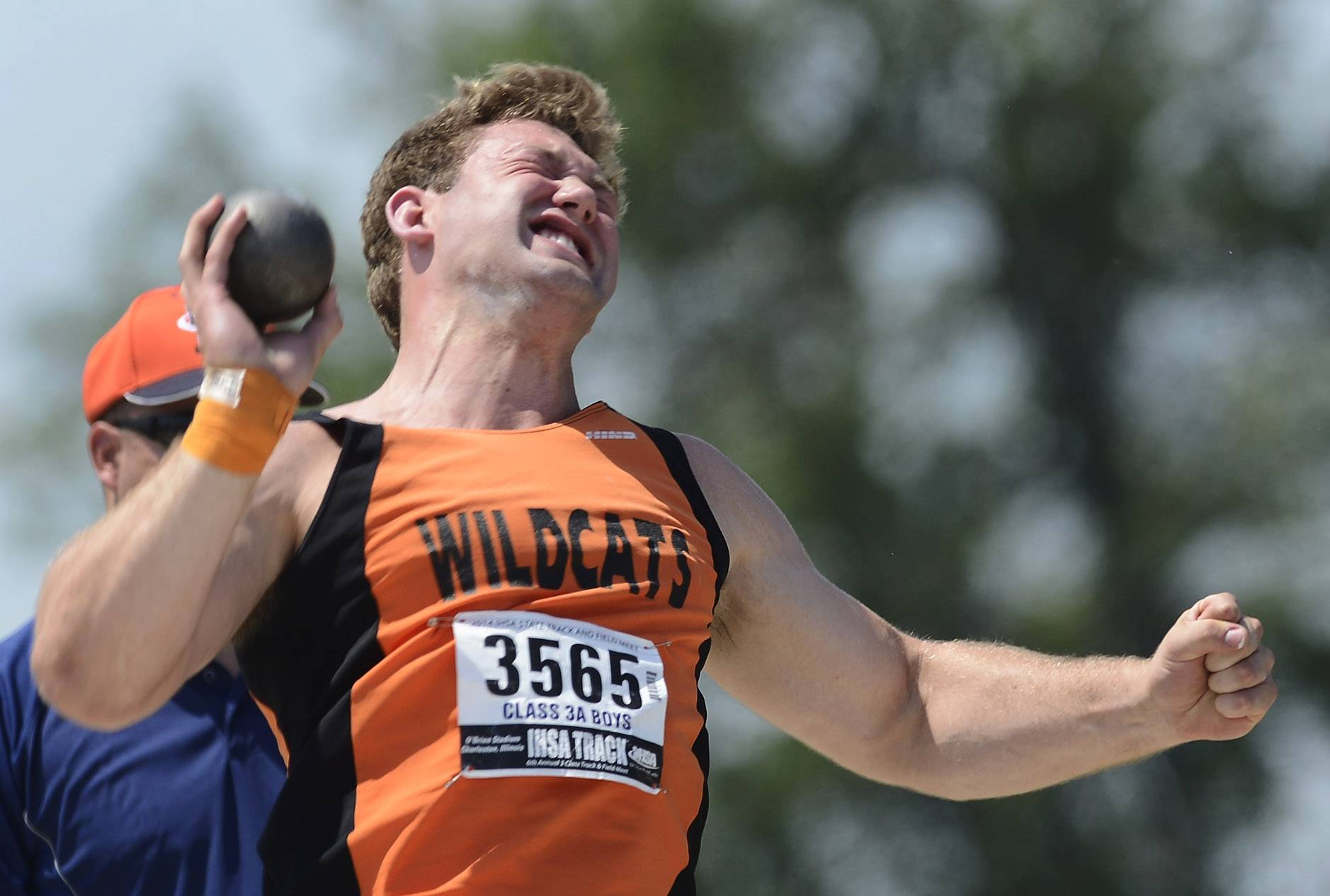 Libertyville's Kevin Barbian competes in the shot put during the boys class 3A state track and field finals in Charleston Saturday.