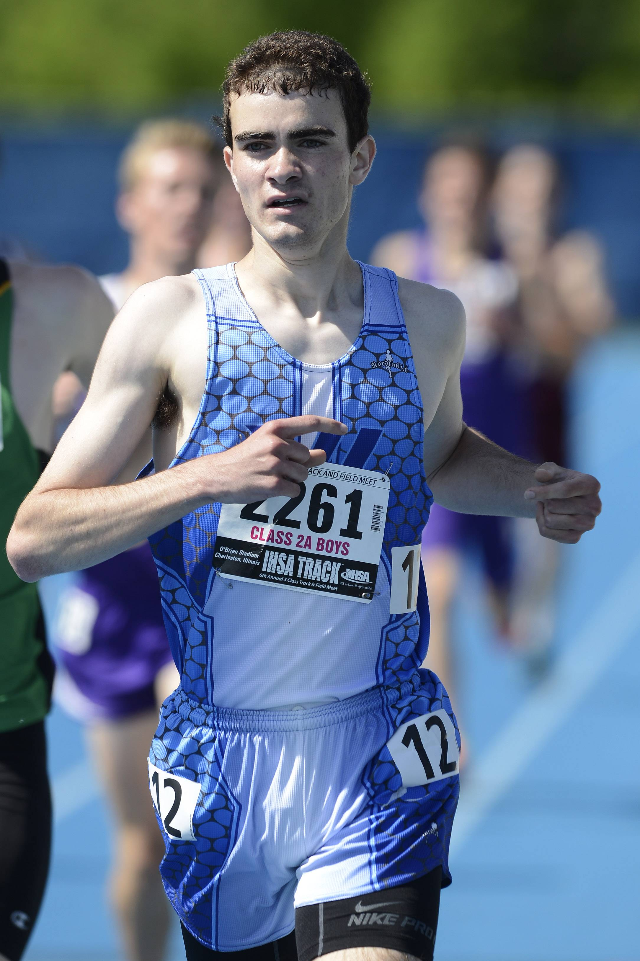 Vernon Hills' Ben Mohrdieck wins the 1,600-meter run during the boys class 2A state track and field finals in Charleston Saturday.