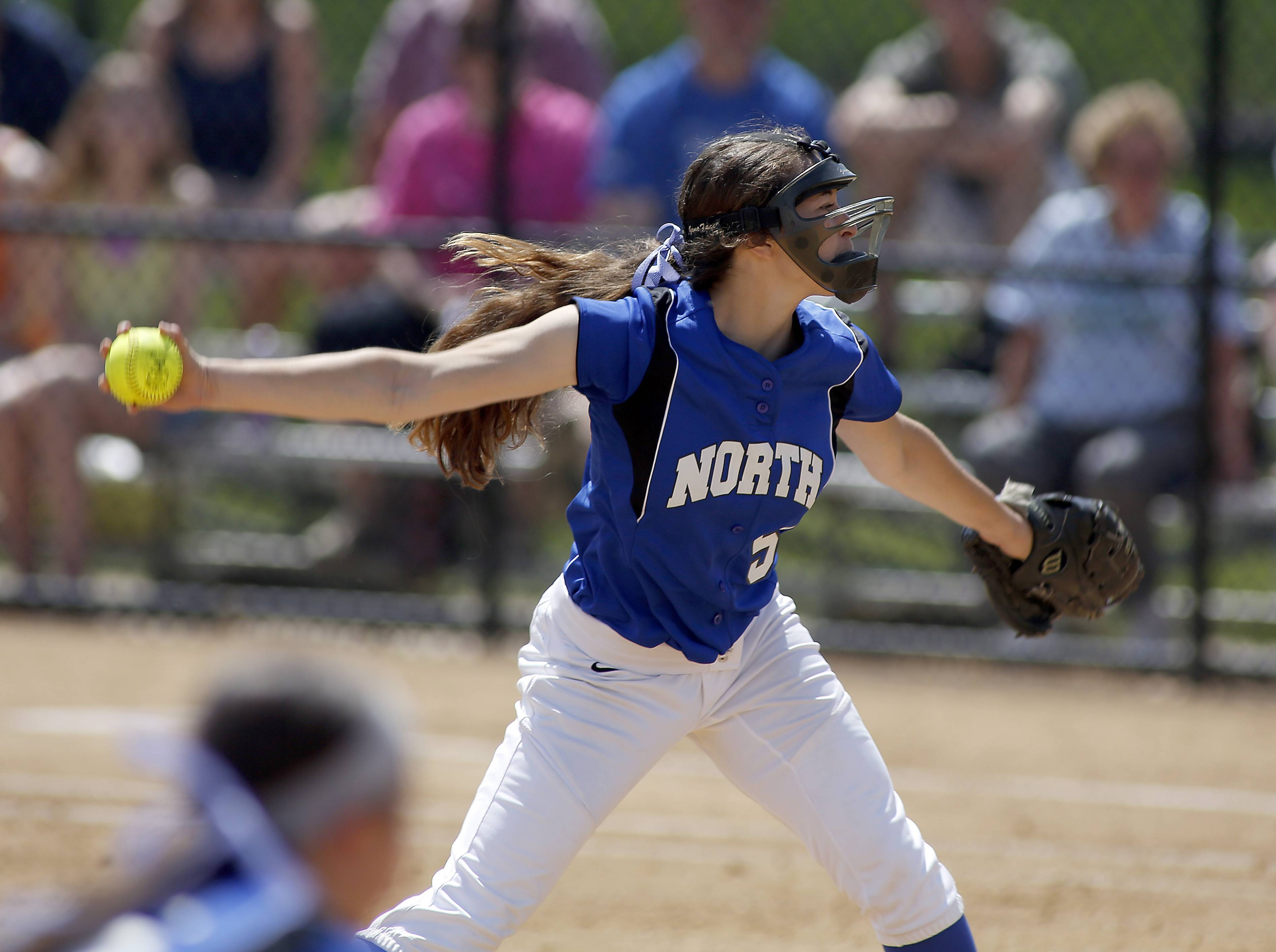 St. Charles North's Sabrina Rabin delivers to the plate against Bartlett in the championship game of Class 4A Addison Trail regional Saturday.