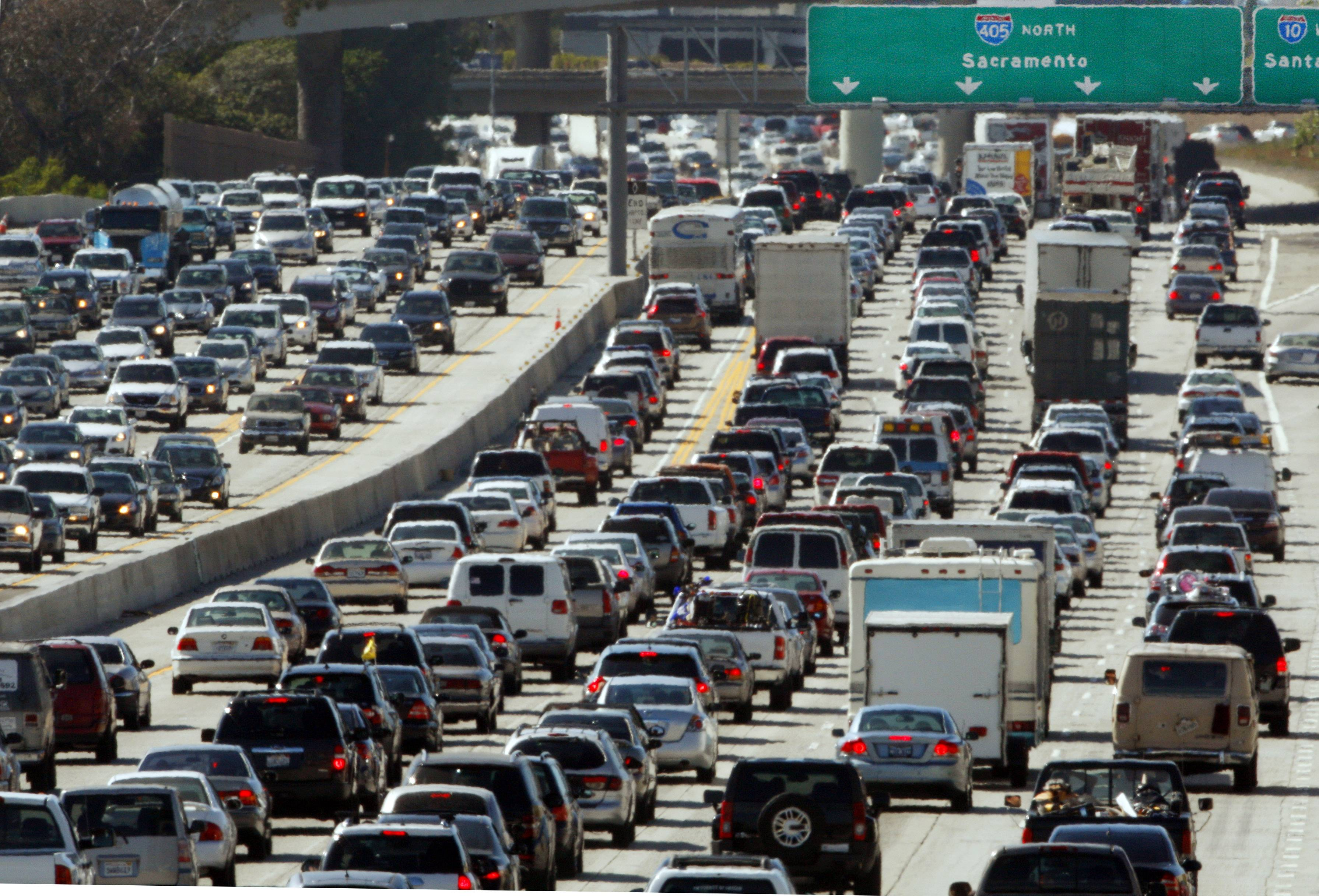 Traffic jammed in both directions on Interstate 405 on the west side of Los Angeles.
