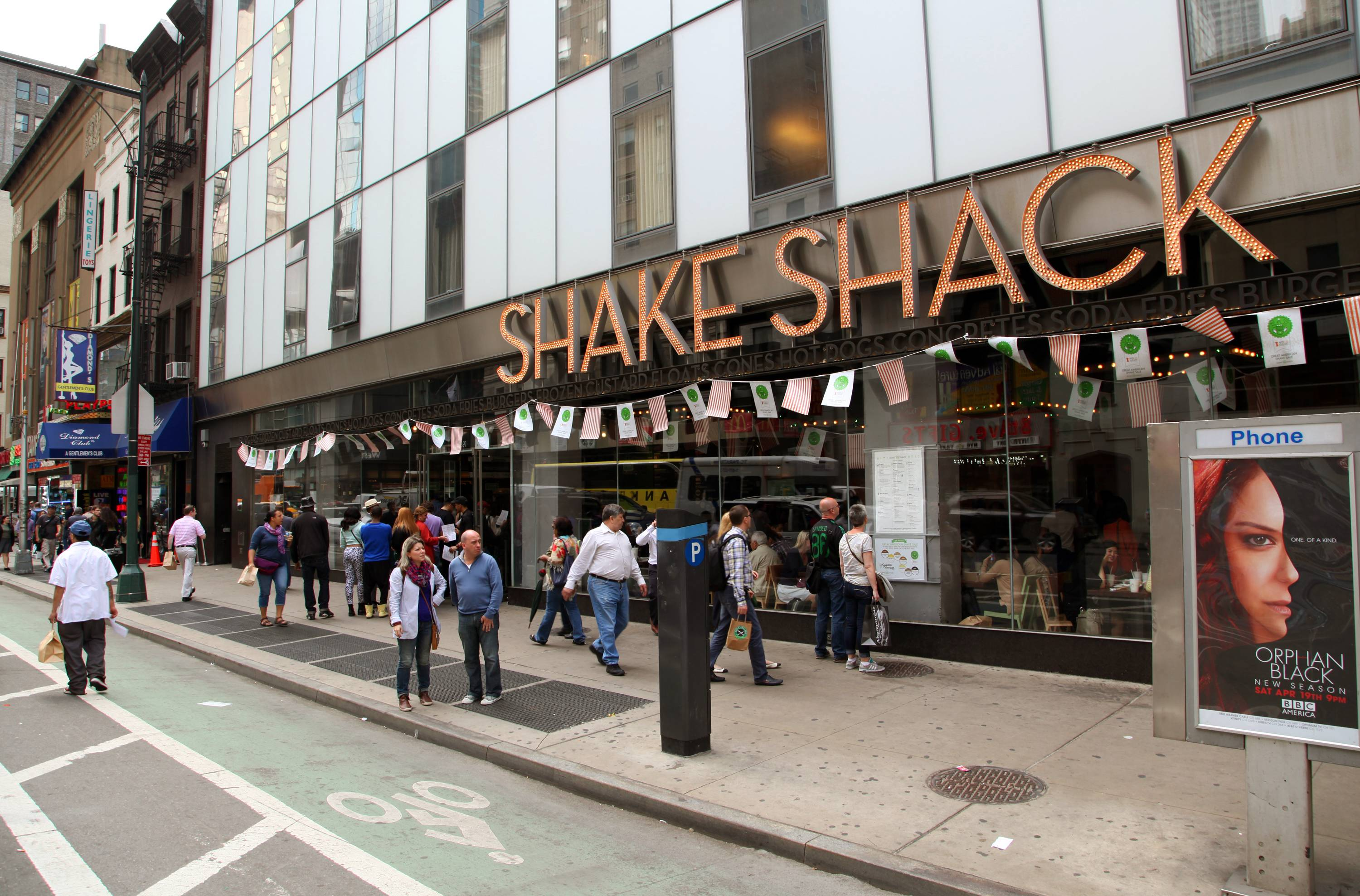 Shake Shack's upscale fast food outpost offers burgers, hot dogs, fries and shakes courtesy of restaurateur Danny Meyer. The lines are long and seats never free, but if you pick a concrete -- dense frozen custard ice cream in a cup with a straw -- an express line can get you in and out in time for the theater curtain.