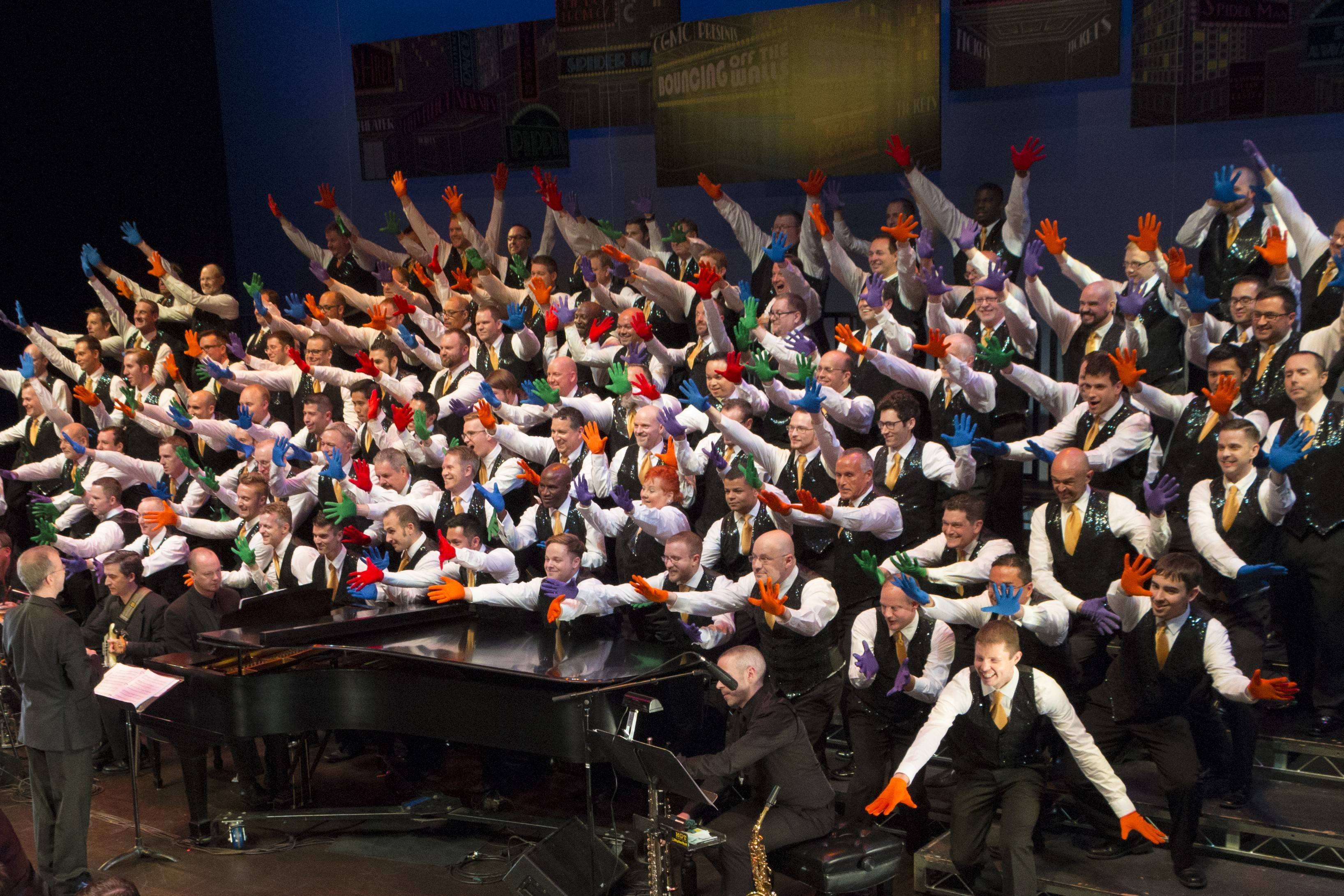 "The Chicago Gay Men's Chorus revue ""Bouncing Off the Walls: Broadway Our Way"" is performed at Millennium Park's Harris Theater for Music and Dance in Chicago and at North Central College's Wentz Concert Hall in Naperville."