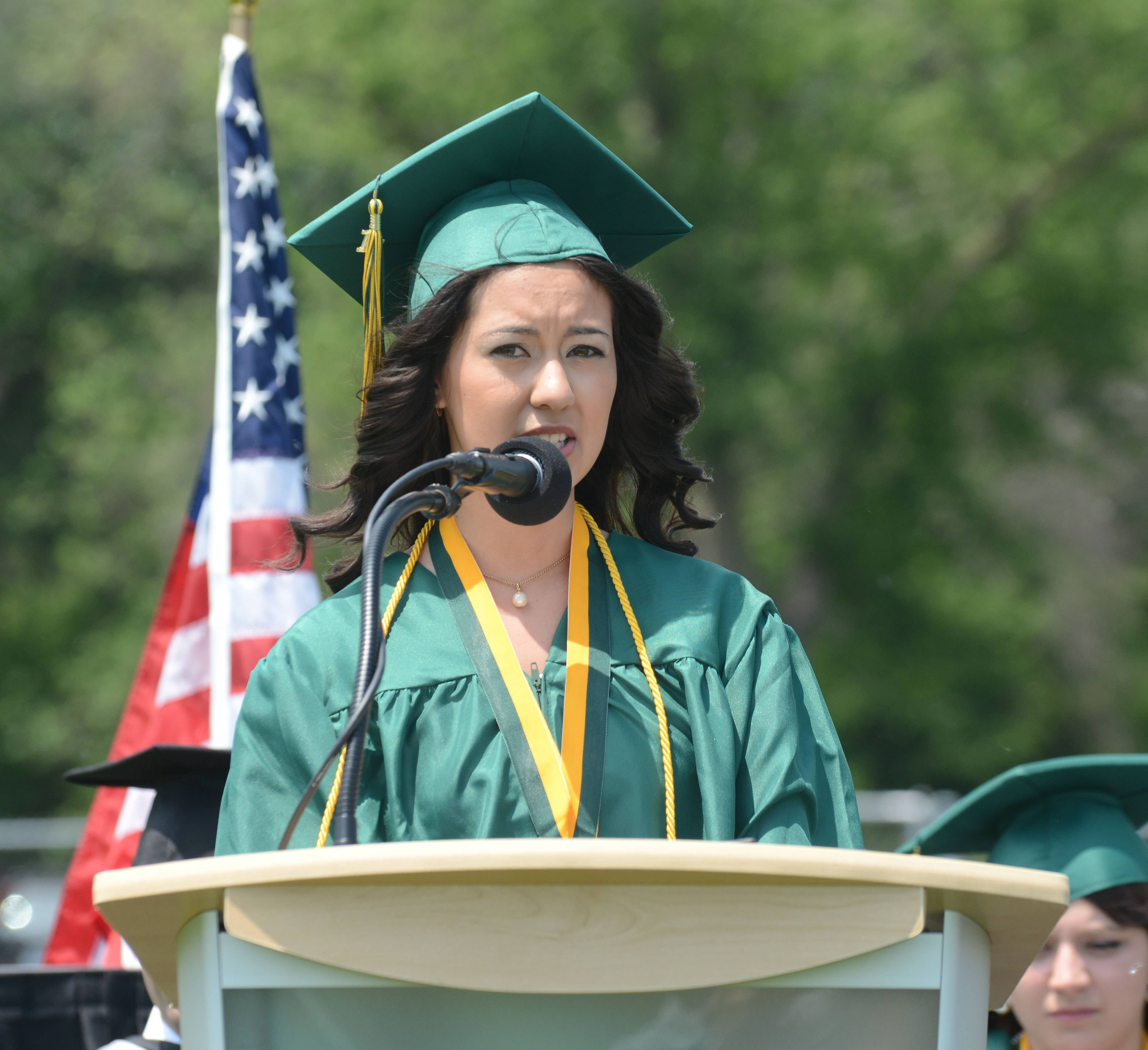 Esmeralda Silva gives remarks during the Elk Grove High School graduation Sunday.