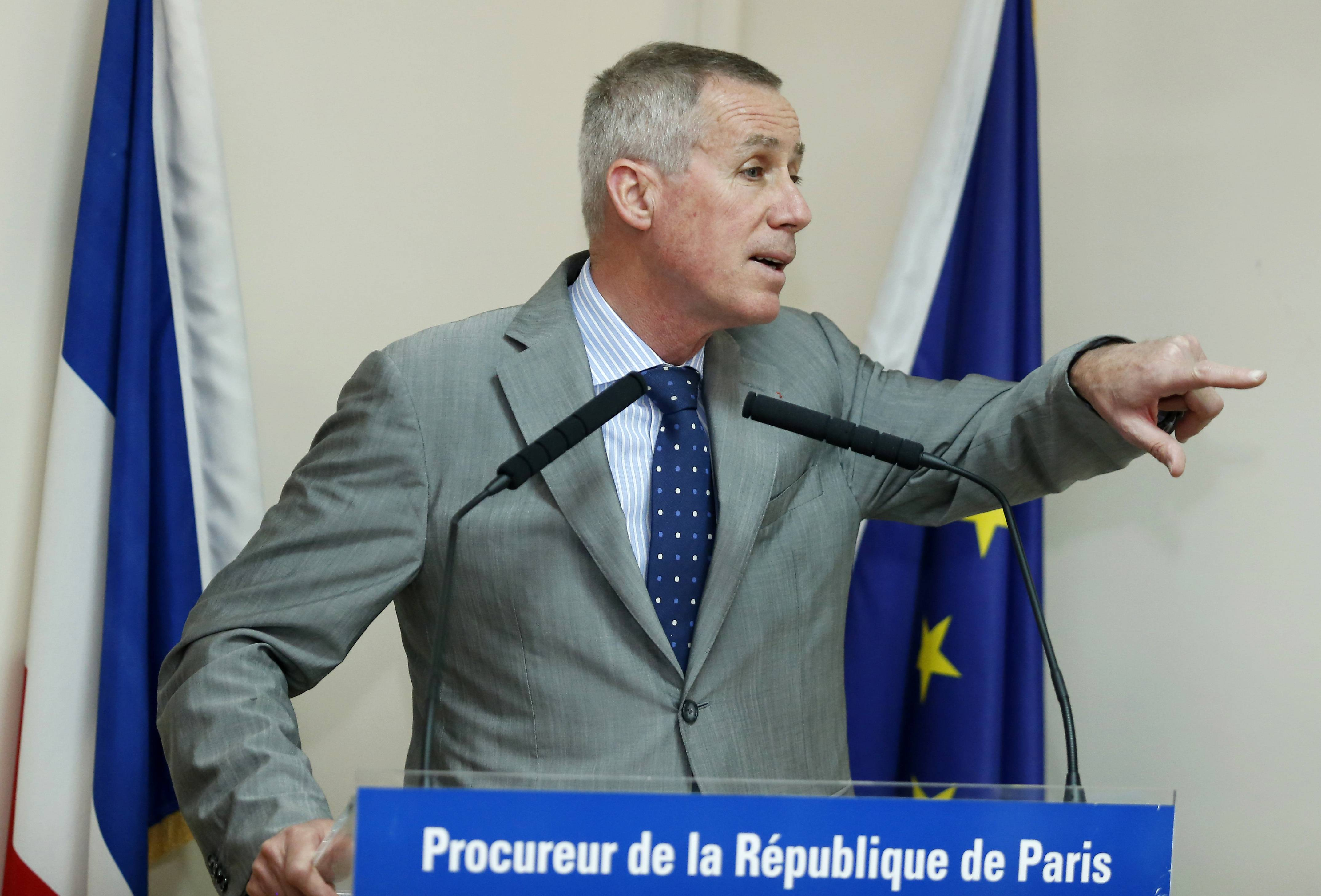 Paris prosecutor François Molins addresses the media in Paris Sunday about an arrest made Friday in Marseille.