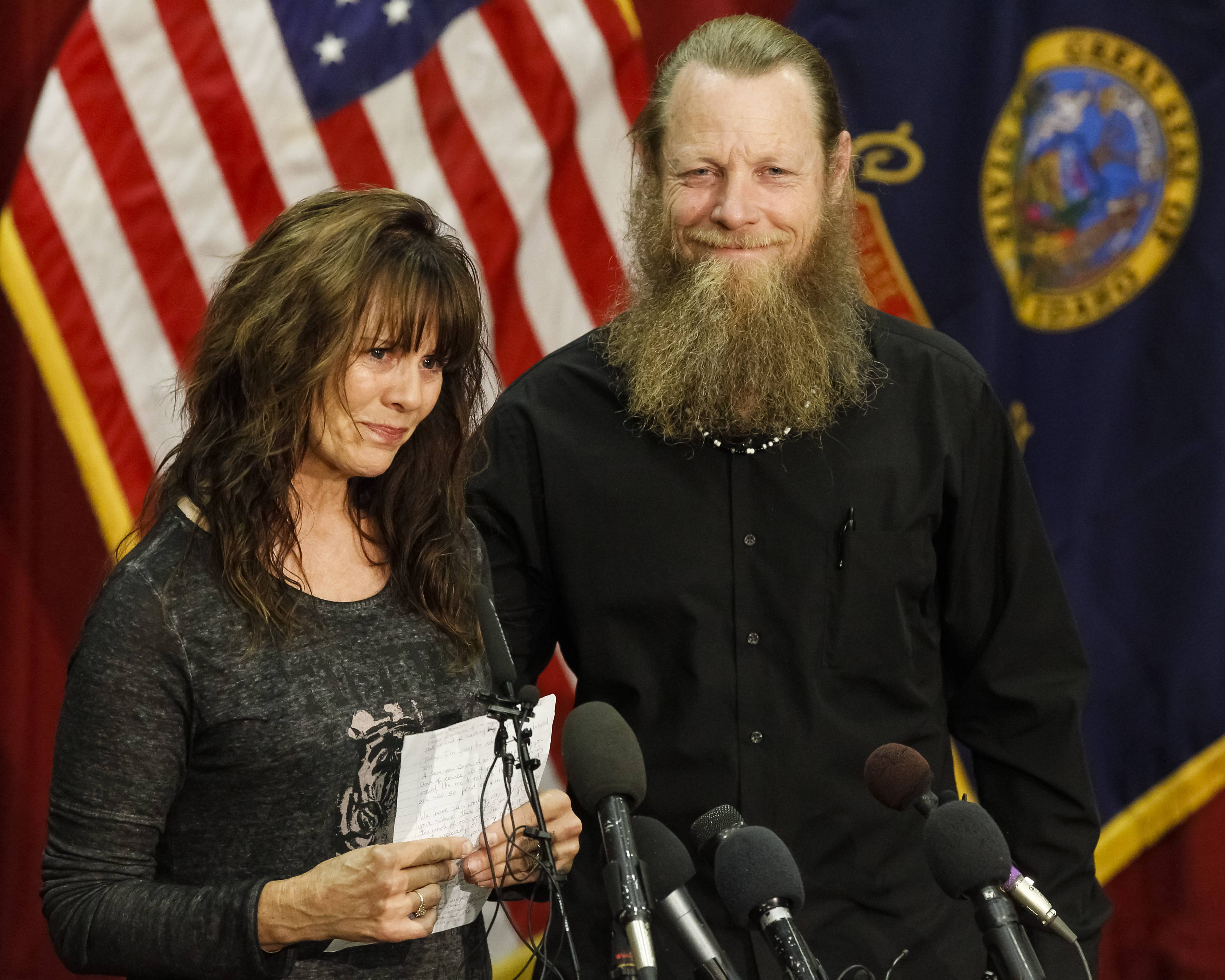 Jani and Bob Bergdahl speak to the media during a press conference at Gowen Field in Boise, Idaho, Sunday. Their son, Sgt. Bowe Bergdahl is back in American hands, freed for five Guantanamo terrorism detainees.