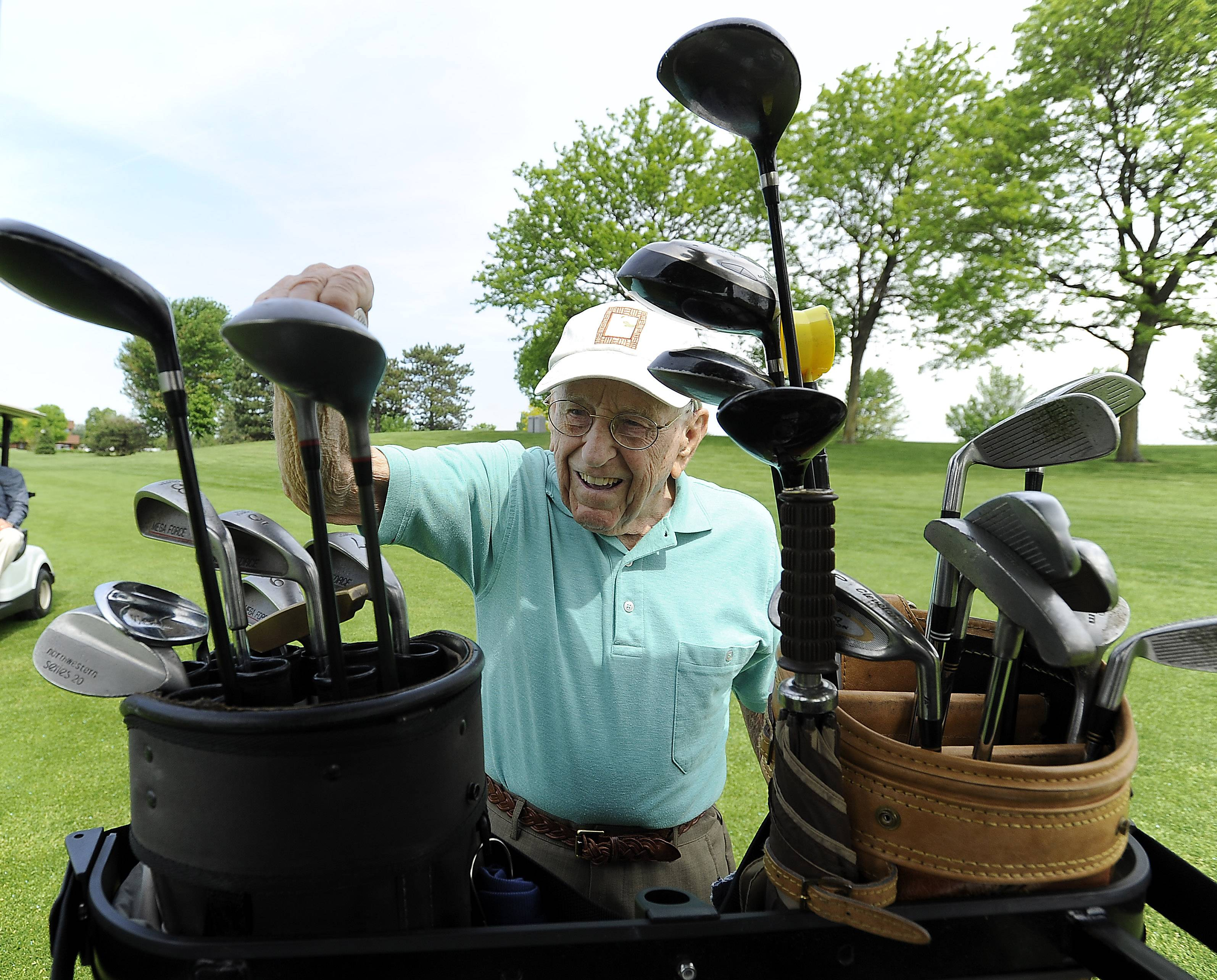 At age 103, golfer Dick Muhlethaler still fetches his clubs and even lifts his golf bag into and out of the cart. As a much younger man, Muhlethaler generally shot under 100 for 18 holes. He now aims to shoot half his age over nine holes.