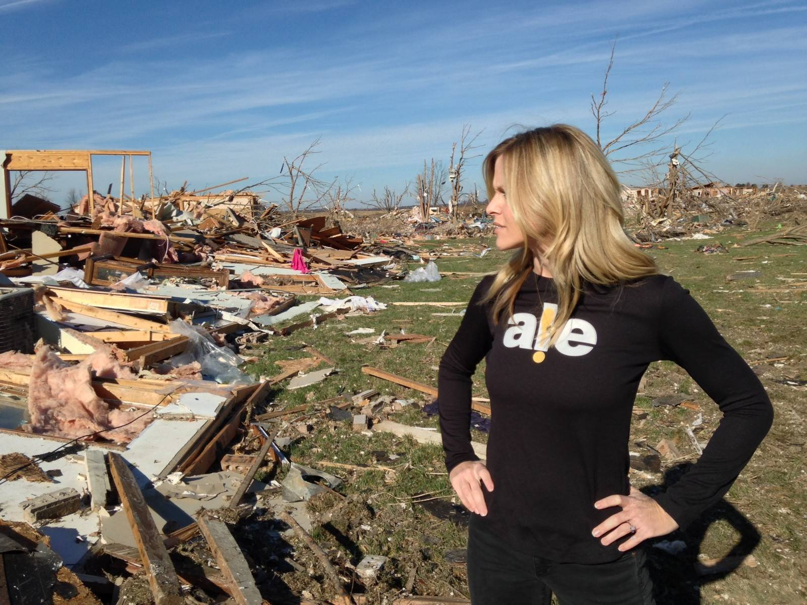 Taylor Koranda was among the employees of ALE Solutions in St. Charles sent to tornado-ravaged Washington, Illinois, to help the abruptly homeless find places to stay.