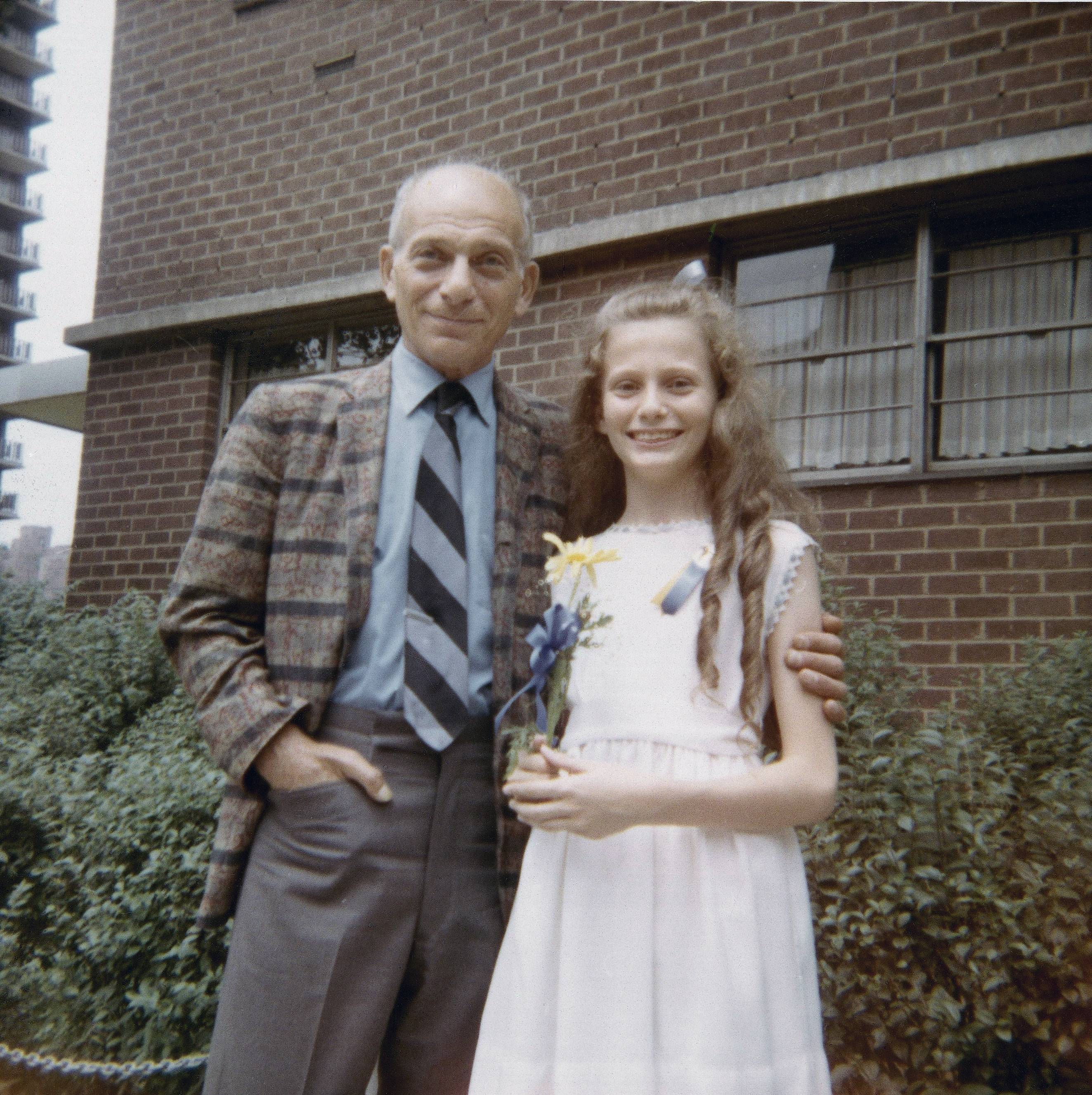 Beth J. Harpaz after her graduation from elementary school in New York with her father, David Jackendoff in June 1971.