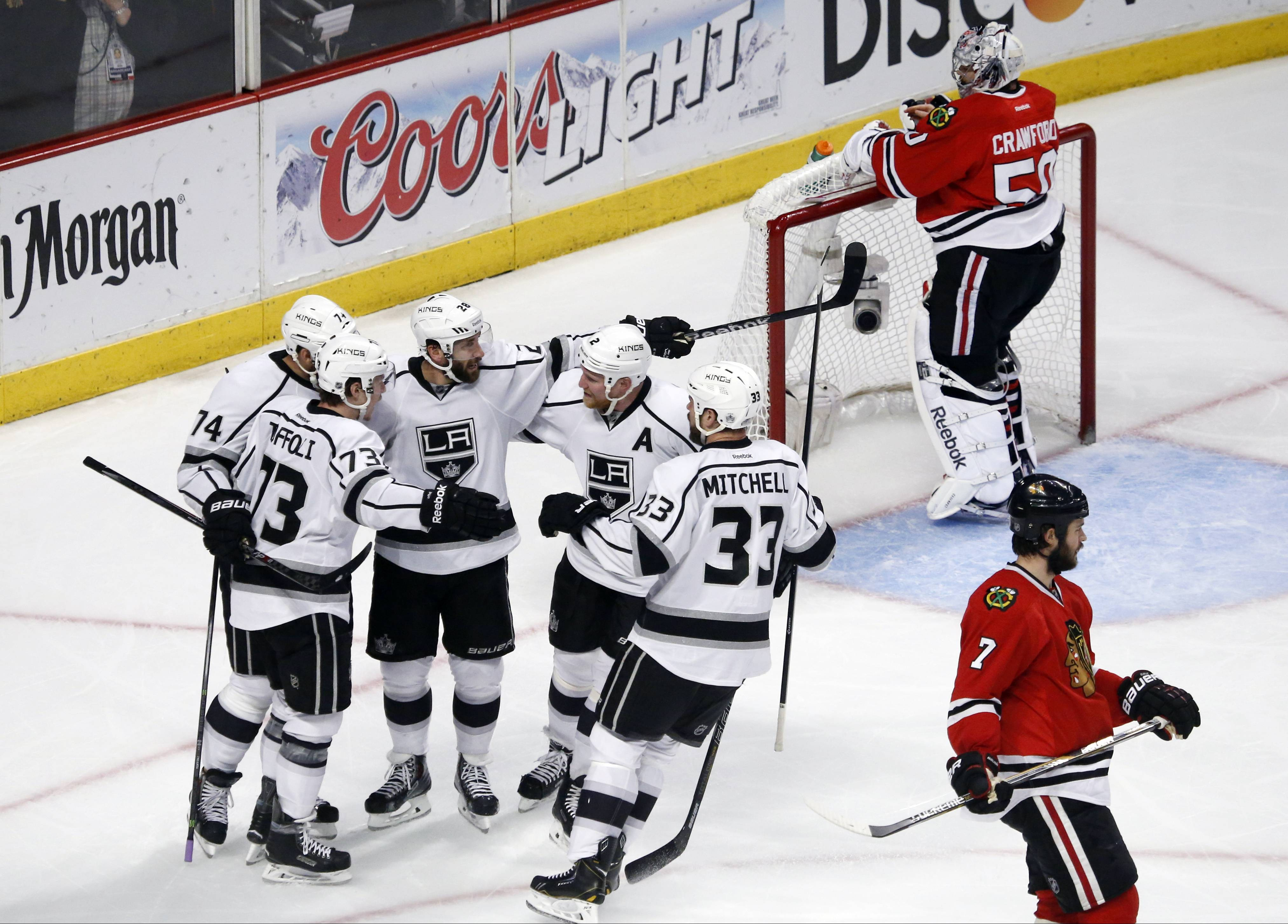 Los Angeles Kings center Tyler Toffoli (73) celebrates his goal with his teammates during the second period.