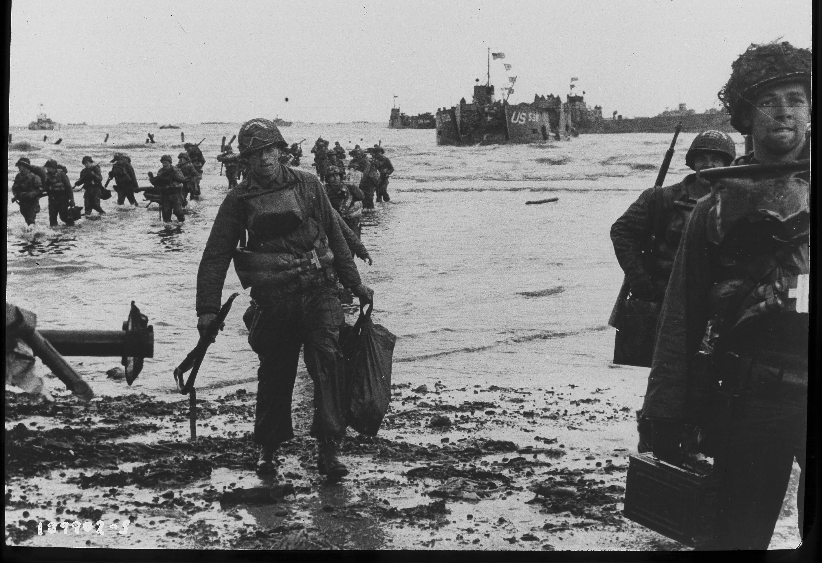 Pfc. Harold Wordeman, an engineer, landed on Easy Red Beach at 11:30 a.m. on D-Day from LCT 538. He was photographed by Capt. Herman Wall.