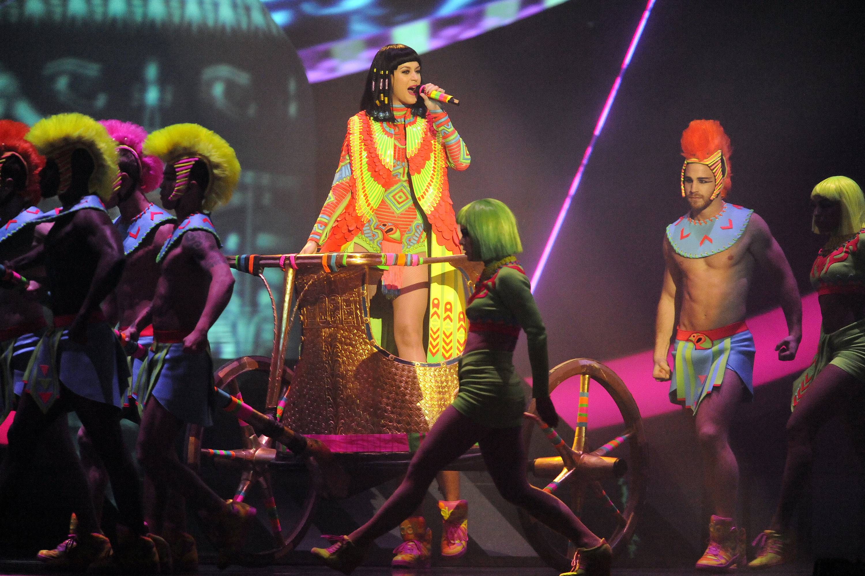 Singer Katy Perry performs on stage at the BRIT Awards 2014 at the O2 Arena in London.