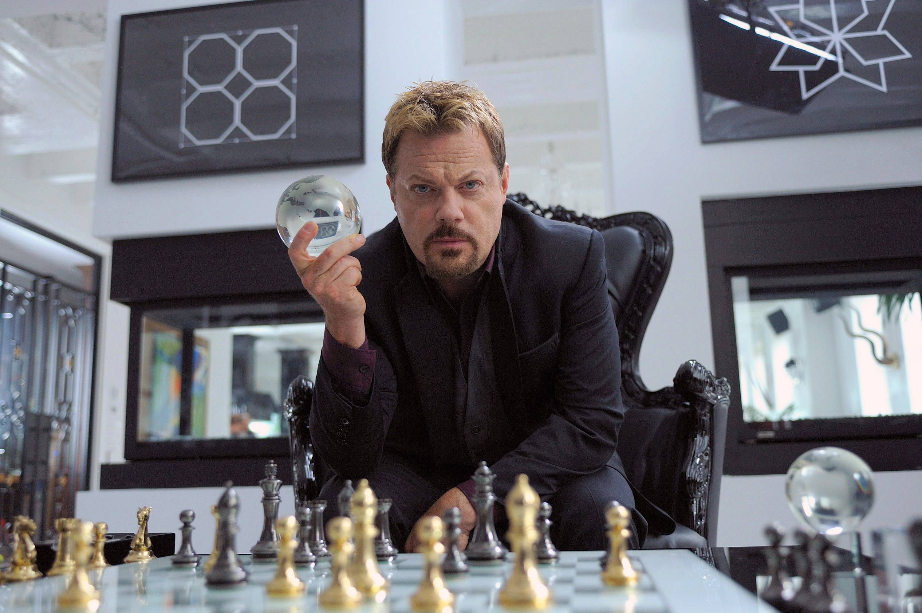 "Eddie Izzard, pictured here in the IFC comedy ""Bullet In The Face,"" appears at the Chicago Theatre for three shows."