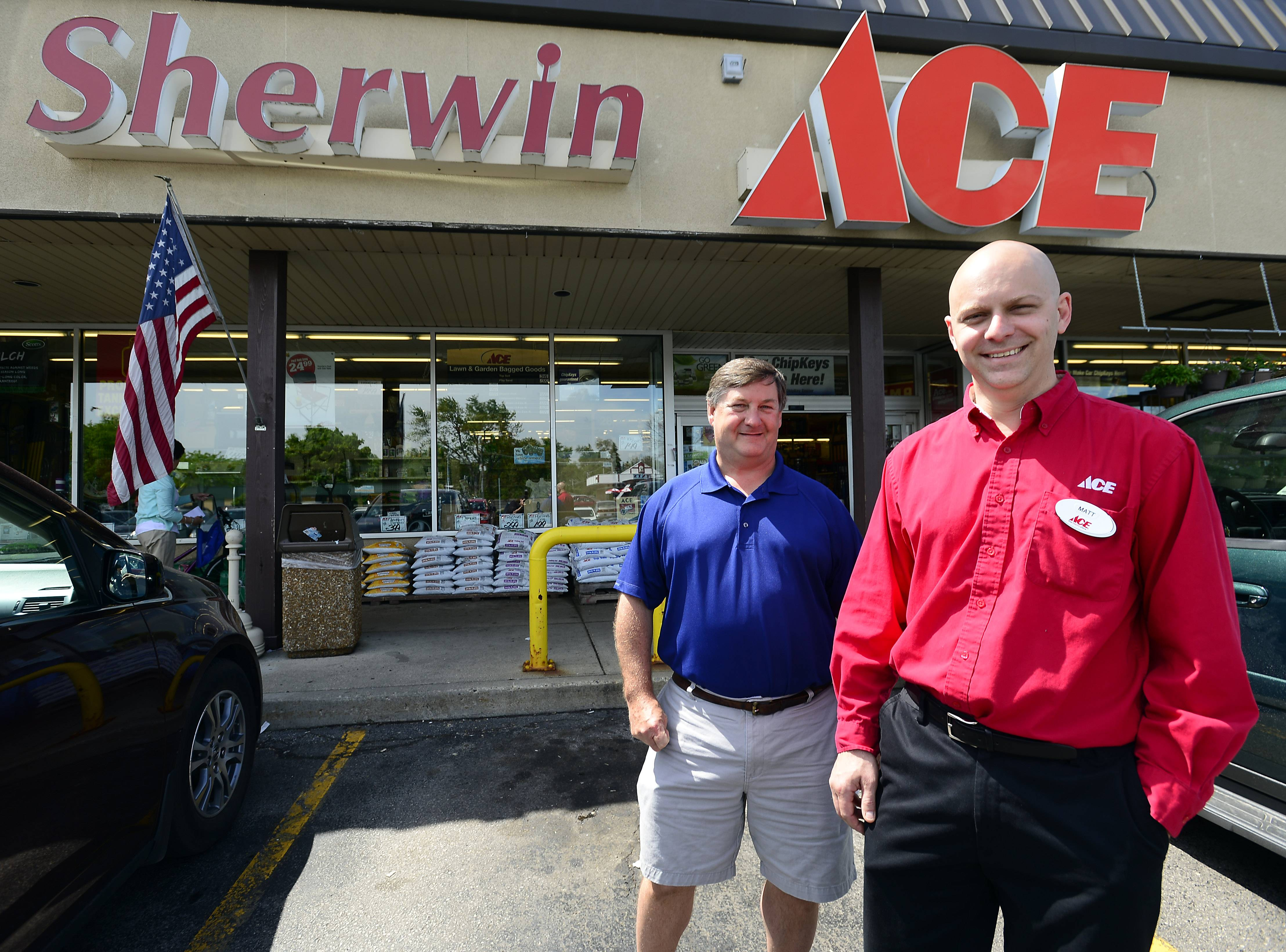 Sherwin Ace Hardware owner Matt Hanson, right, stands with former owner Bob Ward. Hanson took over the Arlington Heights business Jan. 1.