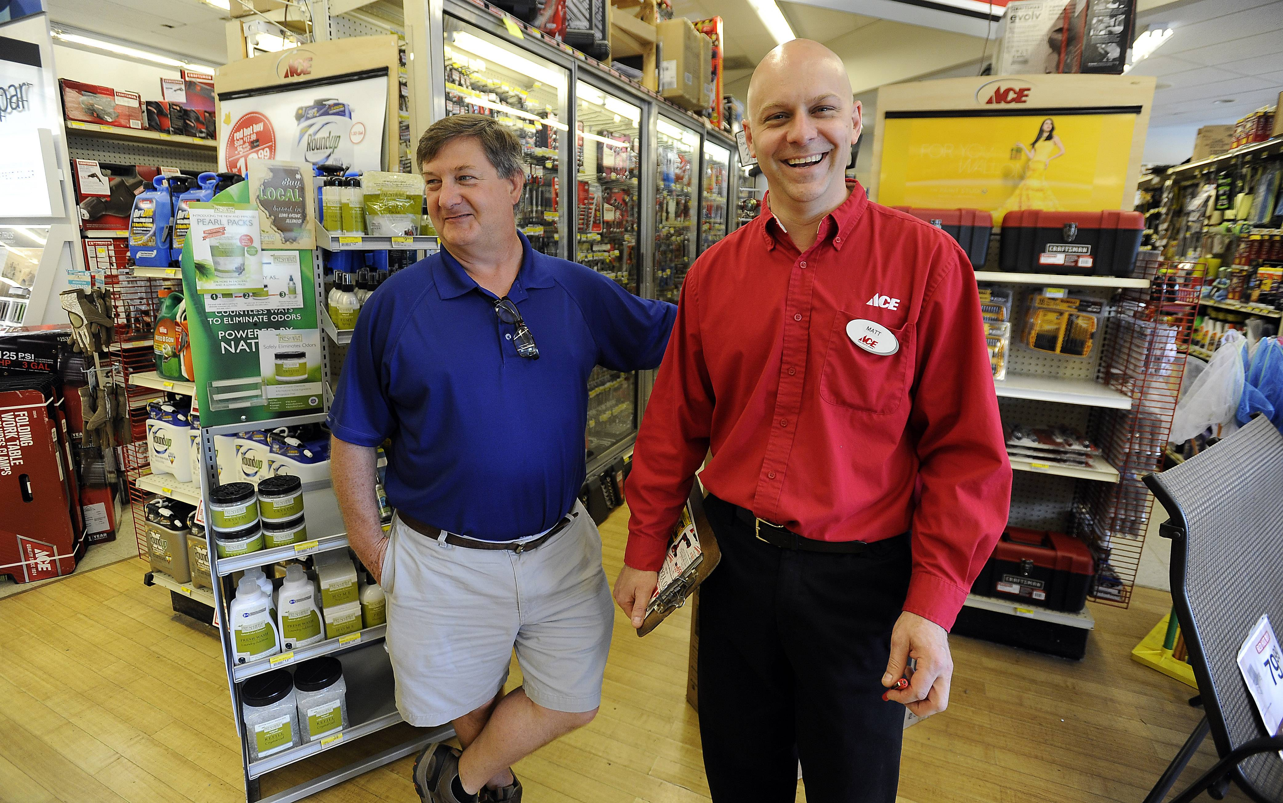 Sherwin Ace Hardware owner Matt Hanson, right, stands with former owner Bob Ward. Hanson took over the business Jan. 1. Hanson, who was once the pupil, is now the teacher.