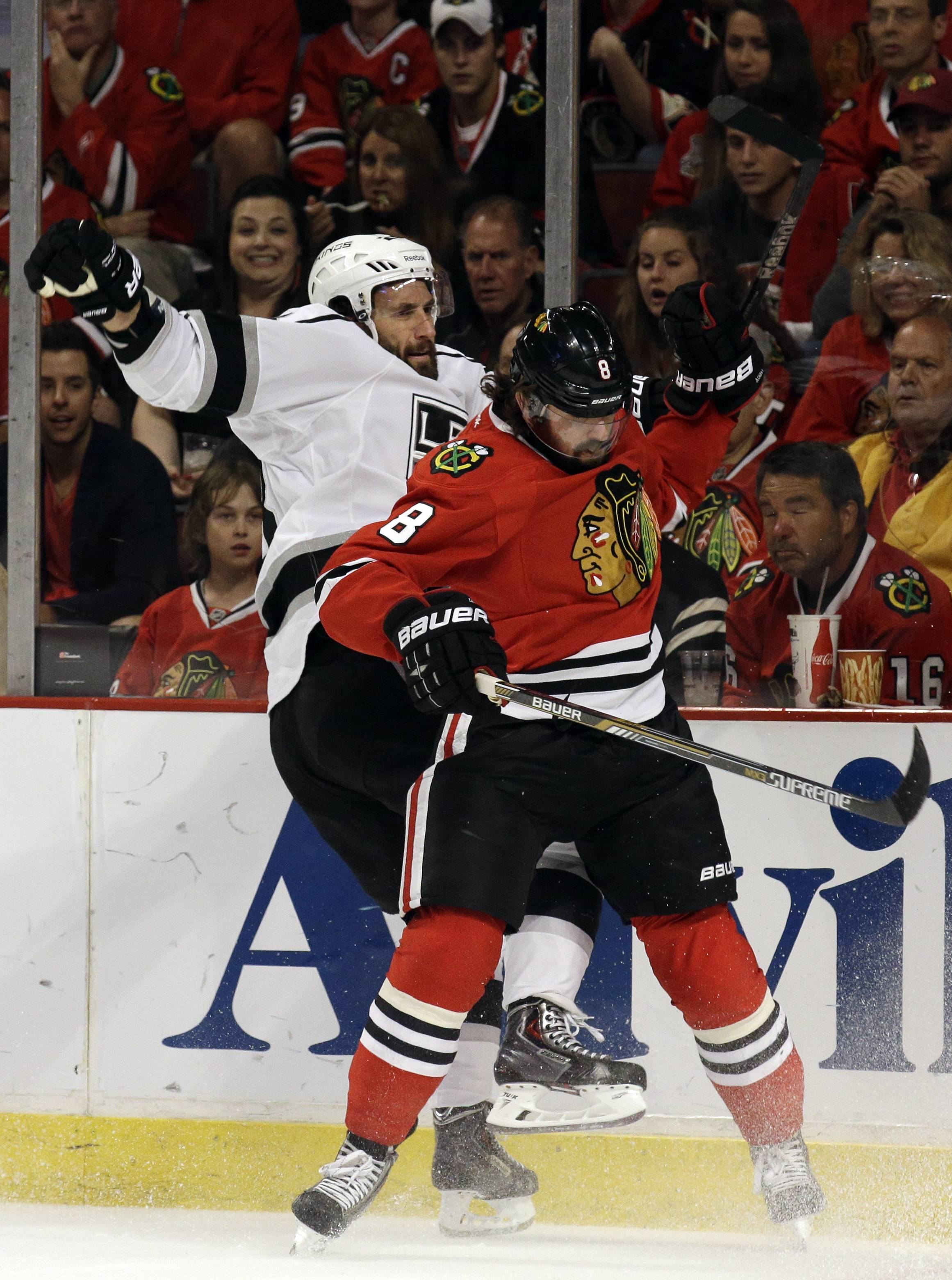 Blackhawks defenseman Nick Leddy remains at a loss for words to describe the final play of the season Sunday, when the puck deflected off his wrist and side into the net as the Kings won 5-4 in overtime.