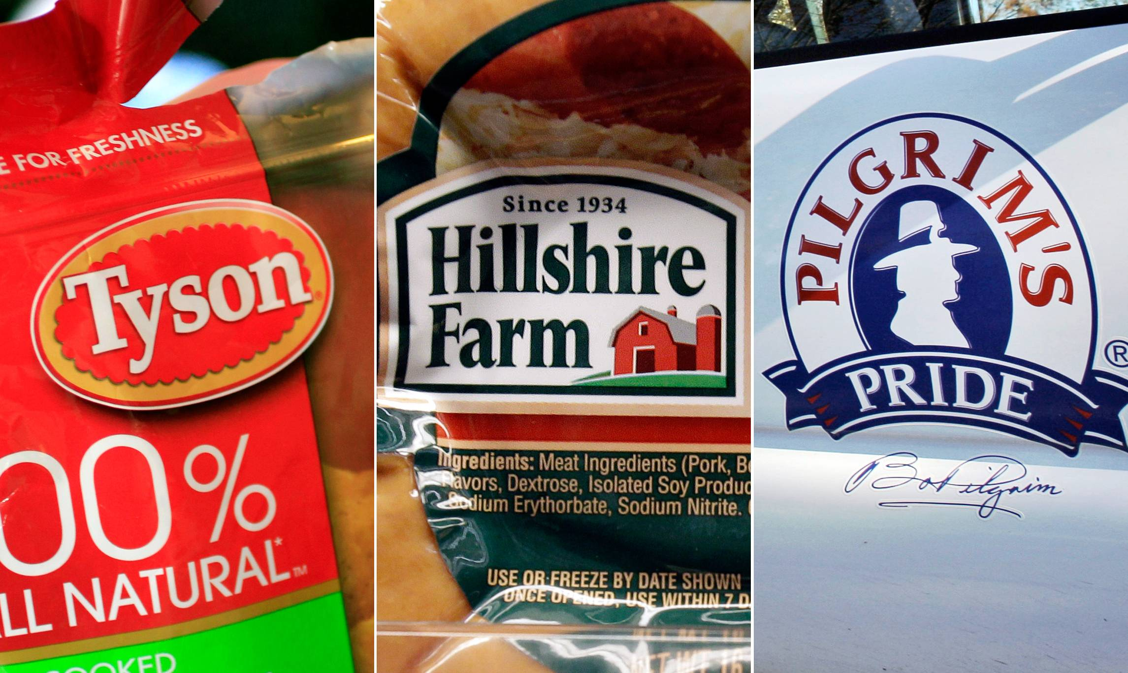 Among Chicago-based Hillshire Brands' products and food lines are Tyson Chicken Nuggets, left, Hillshire Farm sausage, center, and Pilgrim's Pride.