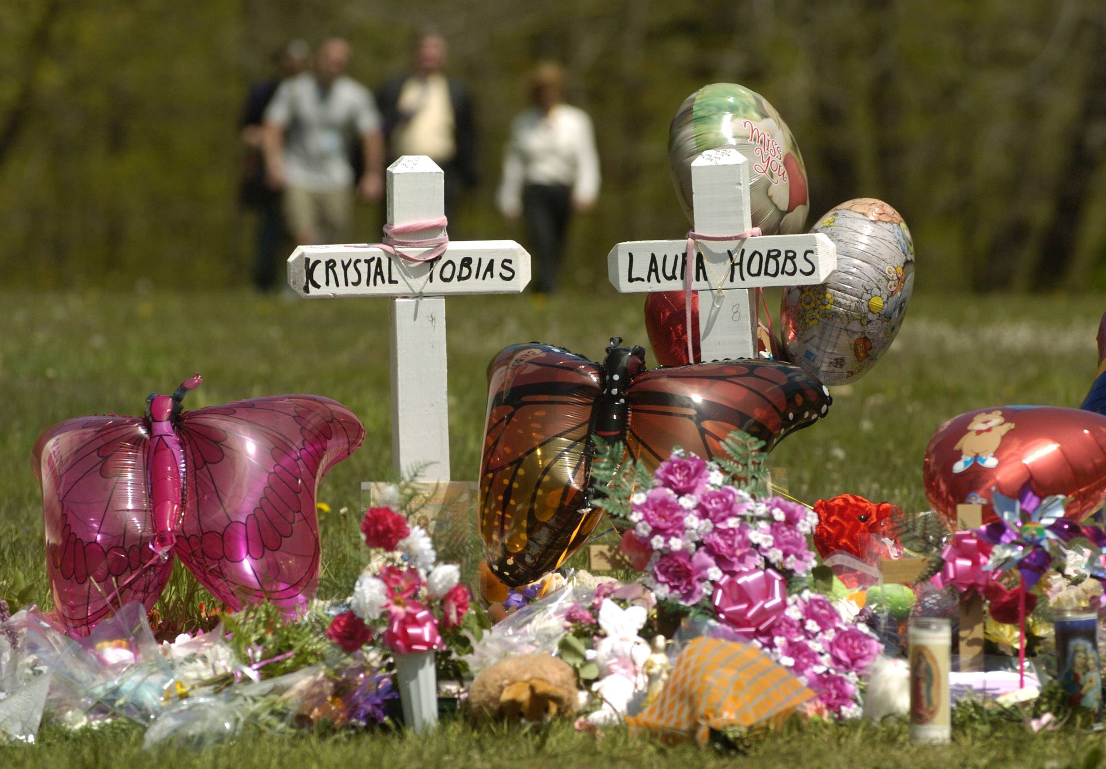 A memorial was erected in 2005 at the entrance of Beulah Park in Zion, where Krystal Tobias and Laura Hobbs were found murdered.