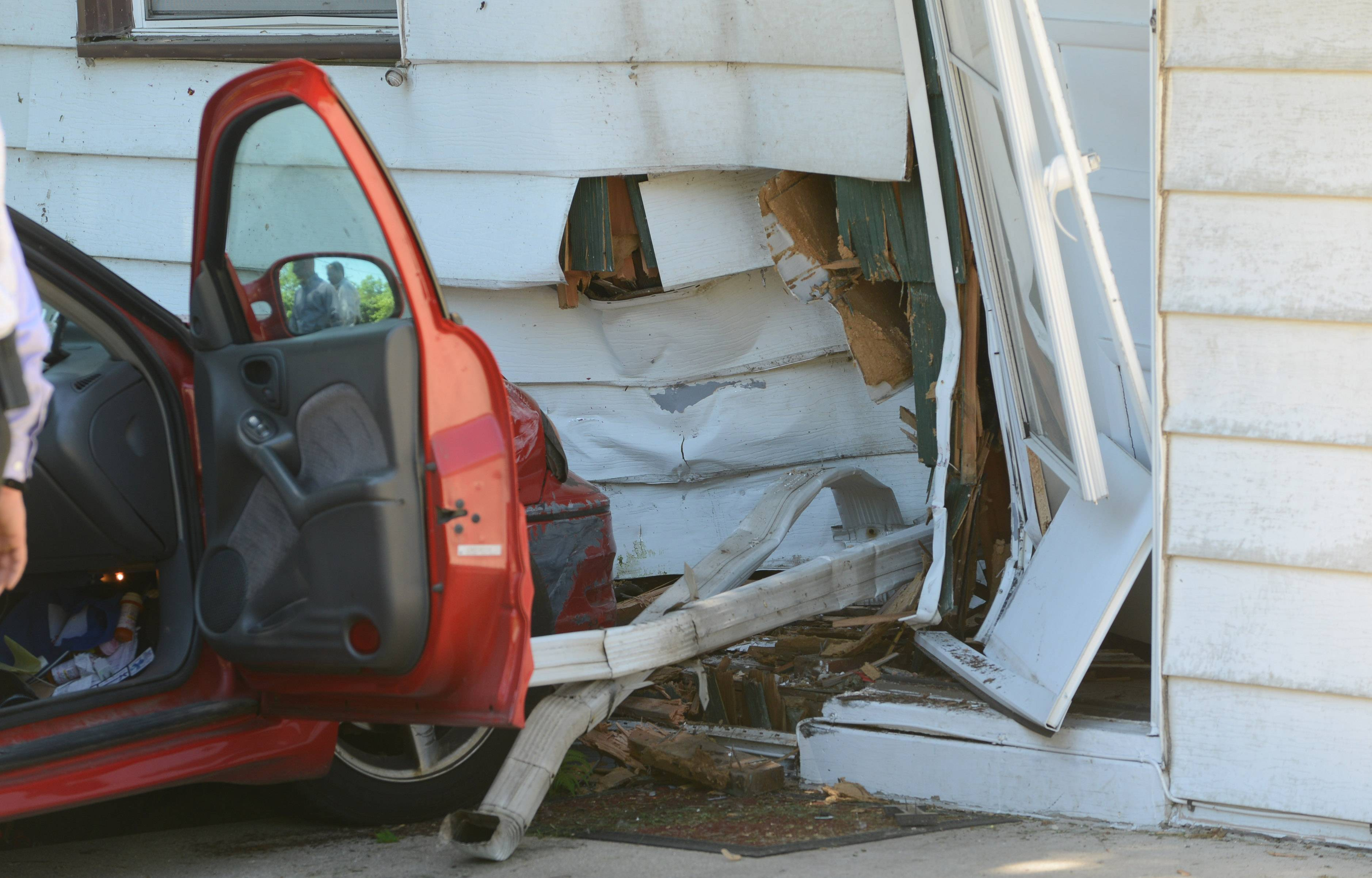 A house on the 1100 block of Diamond Lake Road in Mundelein was damaged when a car crashed into it Tuesday morning.