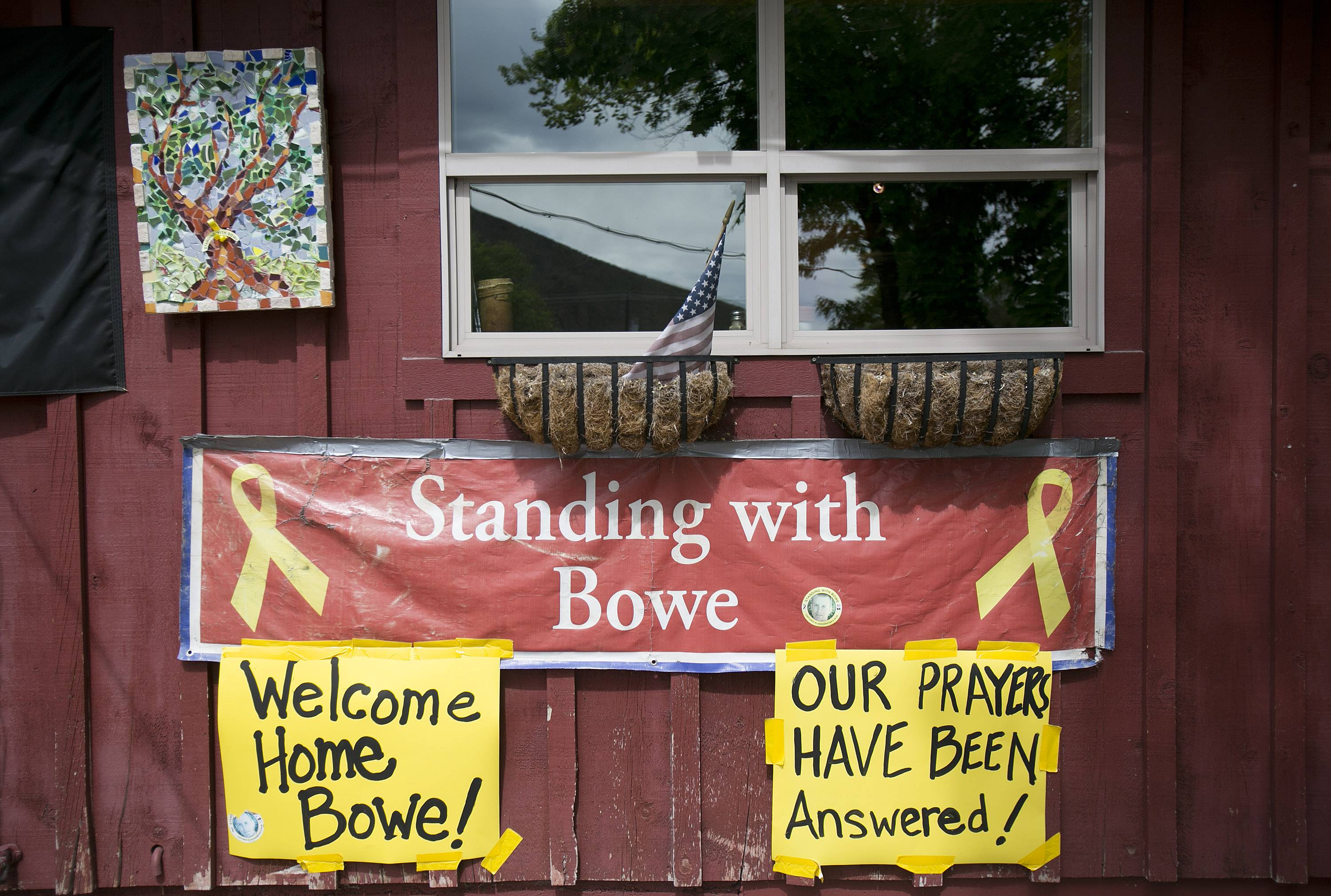 Signs celebrating U.S. Army Sgt. Bowe Bergdahl's release hang on the front of Zaney's coffee shop in Hailey, Idaho, his hometown, last weekend.
