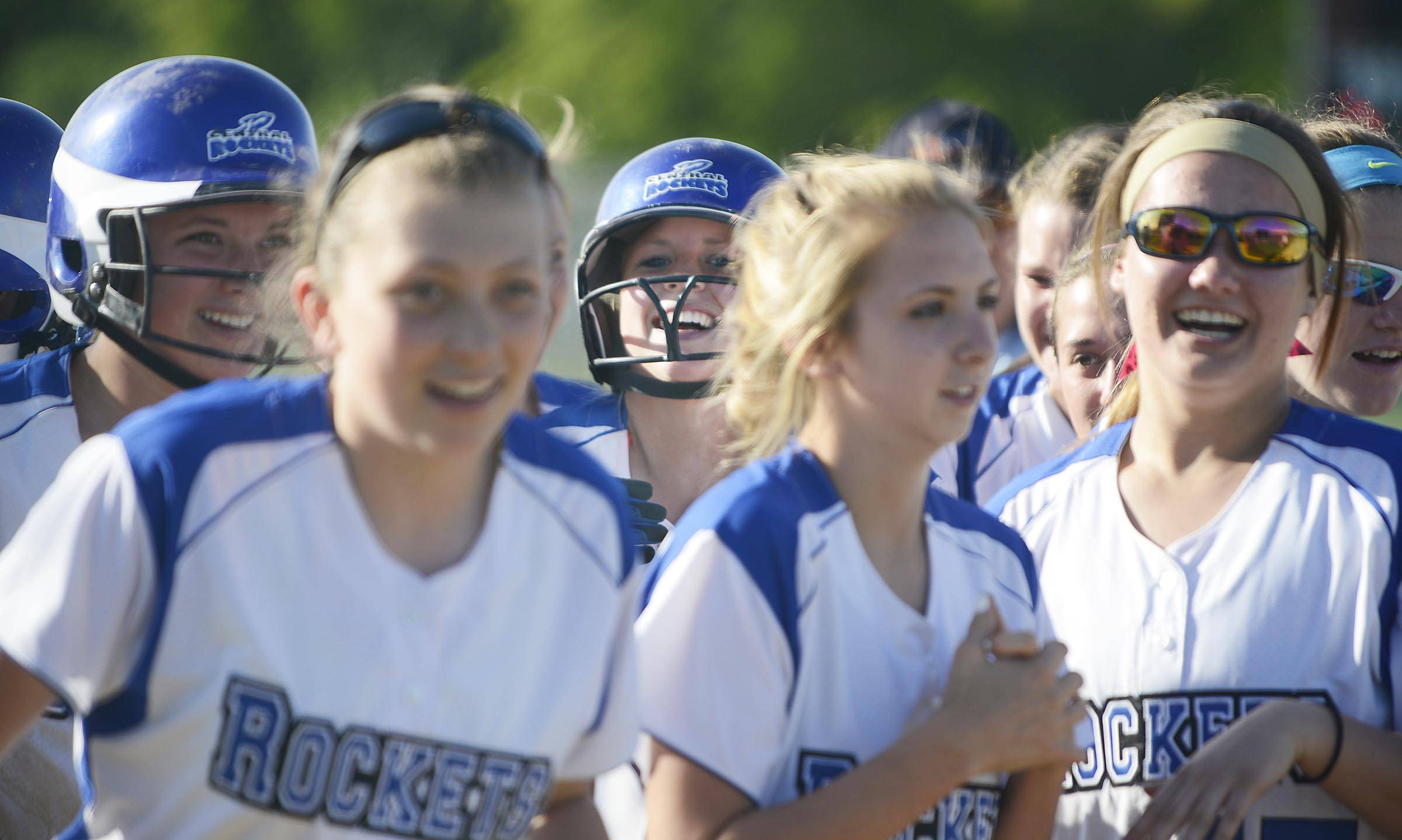 Burlington Central's Brooke Gaylord laughs after her seventh inning two-run home run that tied the score against Sterling Tuesday in the Class 3A Marengo sectional semifinal game. The Rockets lost in eight innings.