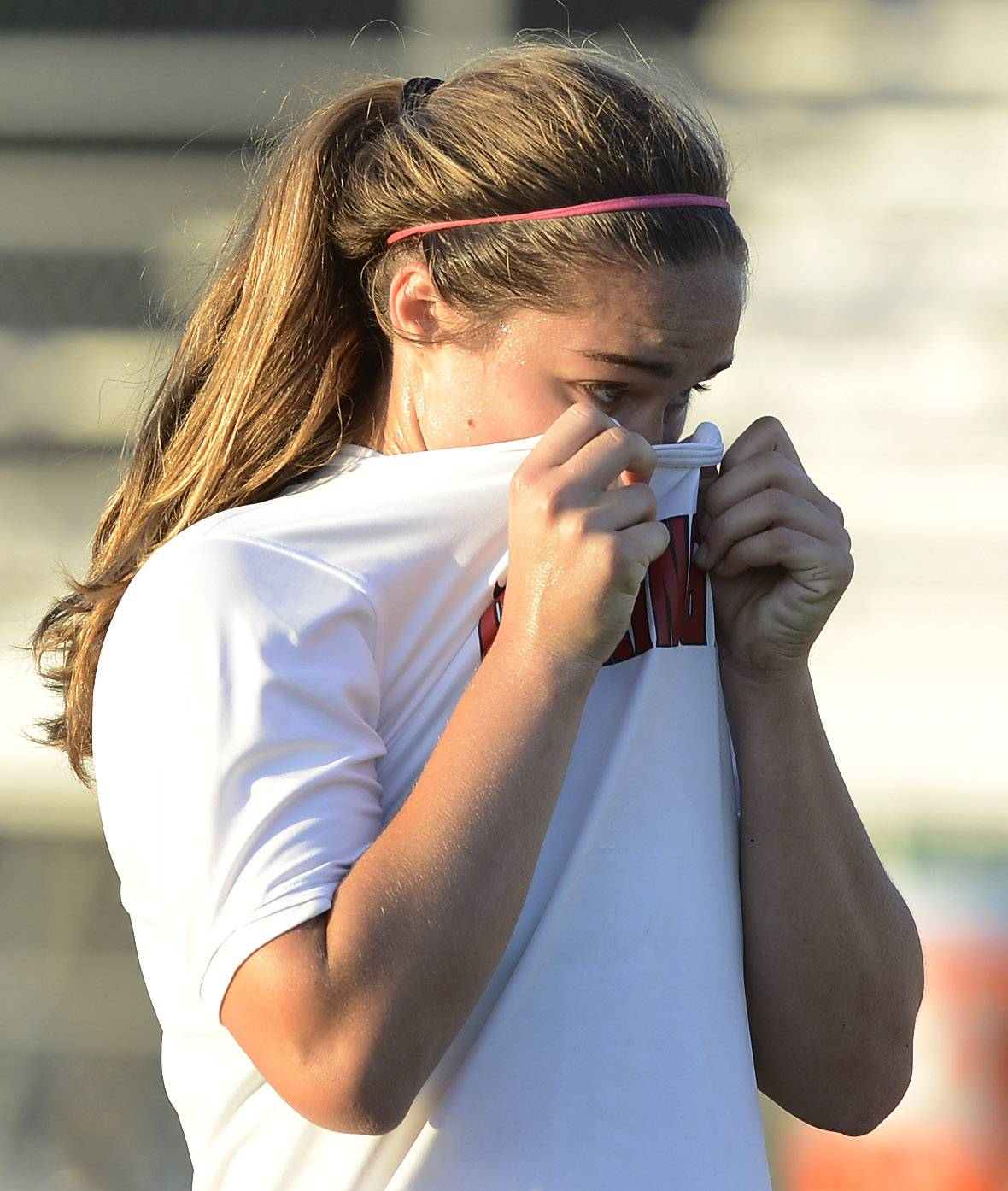 Barrington's Mia Calamari reacts to her team's 1-0 loss to New Trier during the Class 3A supersectional game at Hersey on Tuesday.