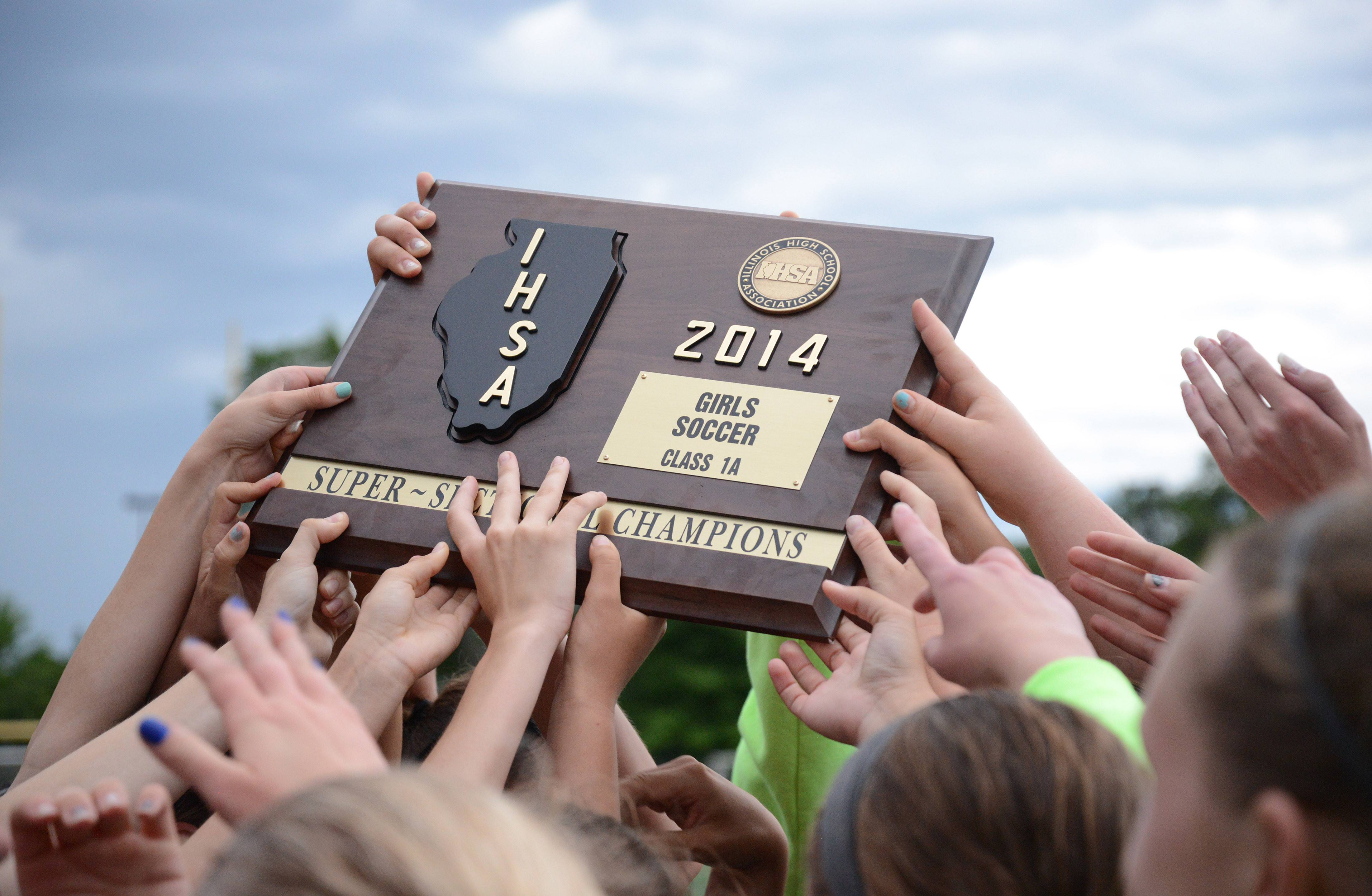 St. Edward teammates swarm their Class 1A supersectional plaque  after winning over Chicago Latin at Concordia University in River Forest on Tuesday, May 27.