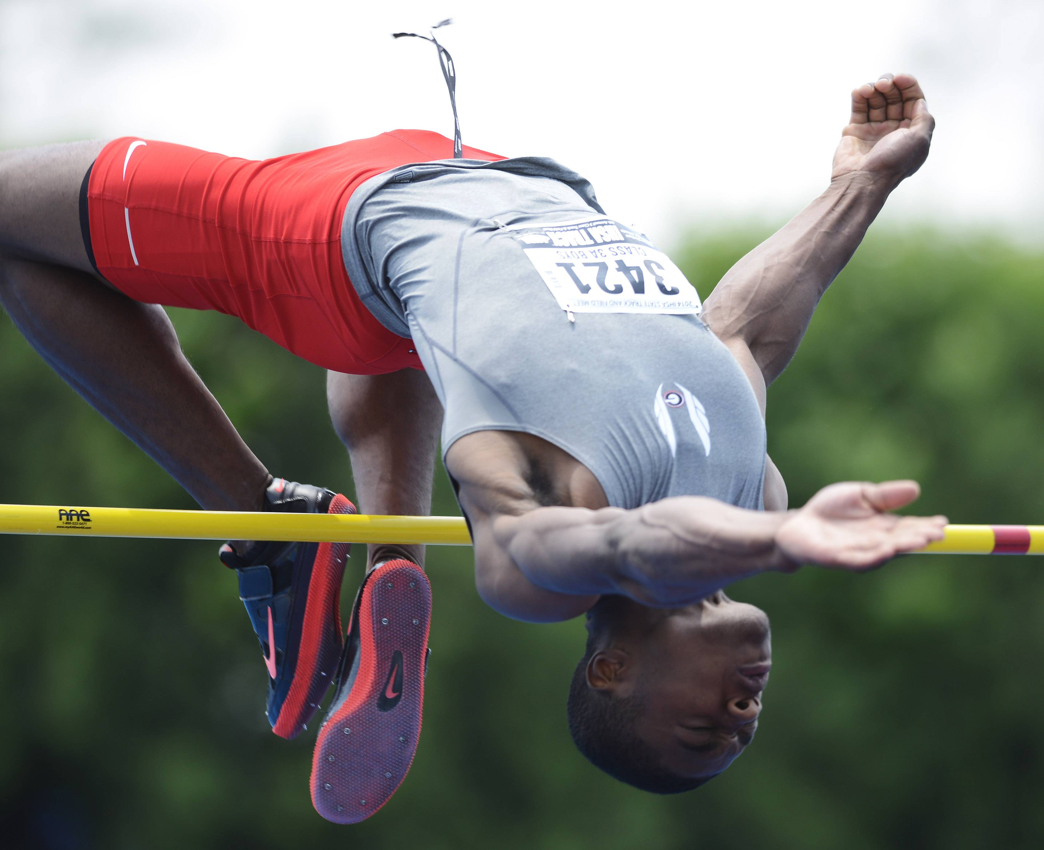 "Jonathan Wells of Grant clears the bar at 6' 4"" in the high jump during the boys Class 3A state track and field preliminaries in Charleston Friday."