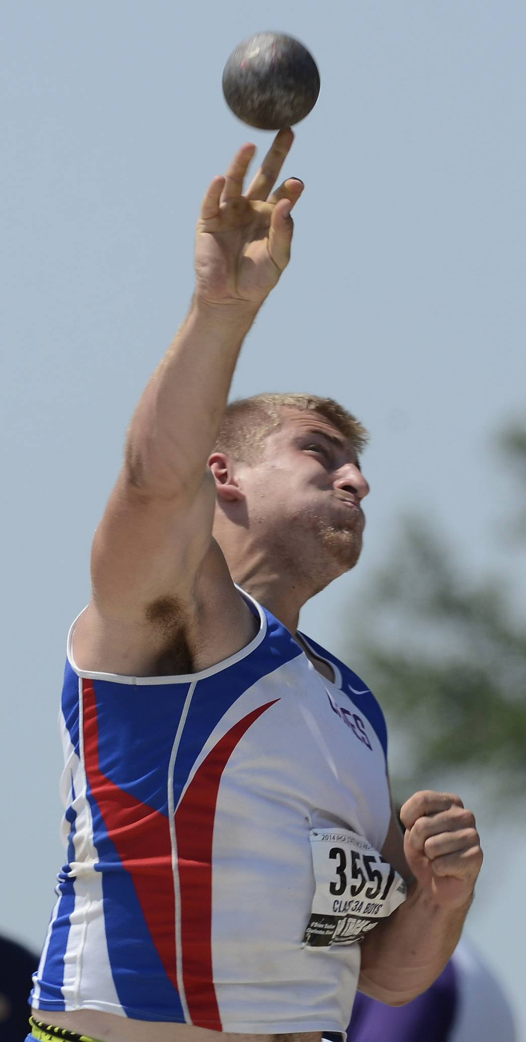 Lakes' Ryan Mullen throws the shot put during the boys class 3A state track and field finals in Charleston Saturday.