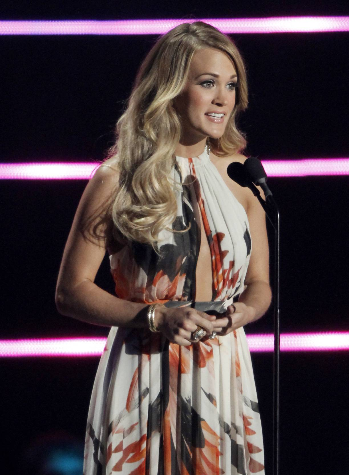 Carrie Underwood speaks on stage Wednesday at the CMT Music Awards at Bridgestone Arena in Nashville, Tenn.