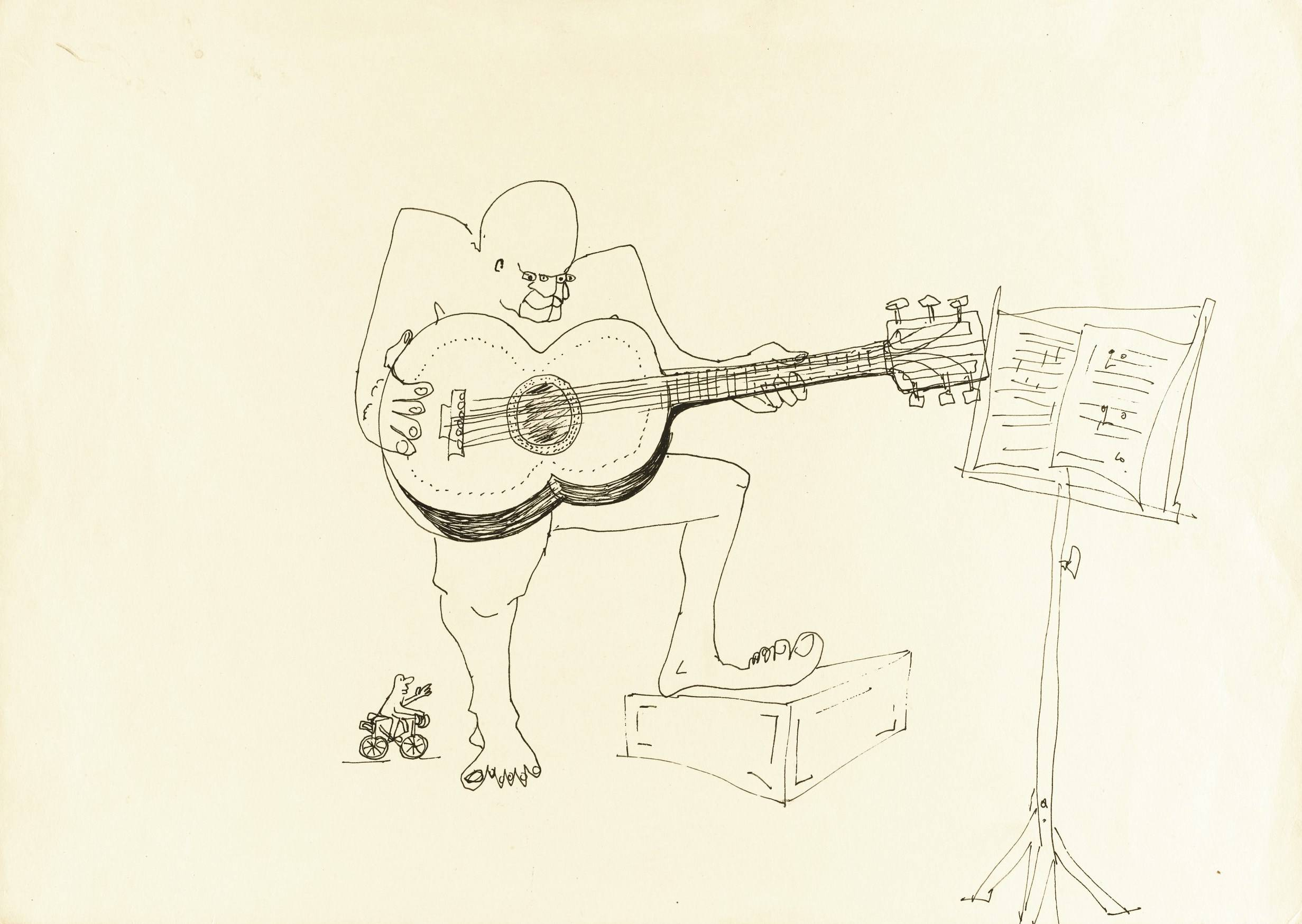 An untitled ink drawing by John Lennon of a guitar player.