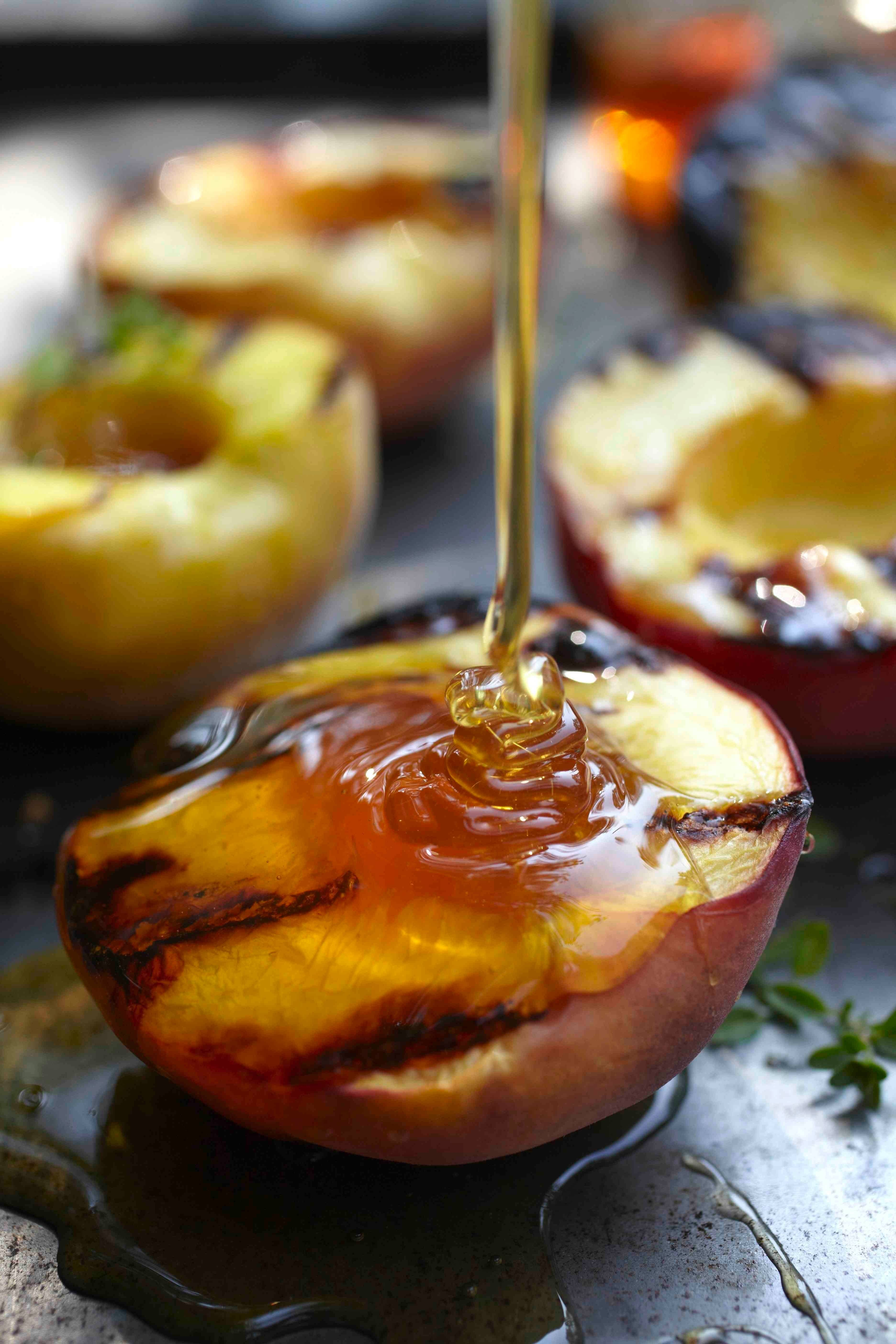 Grilled peaches can be served warm as a salad topping with crumbled Gorgonzola, or serve with a scoop of ice cream for dessert.