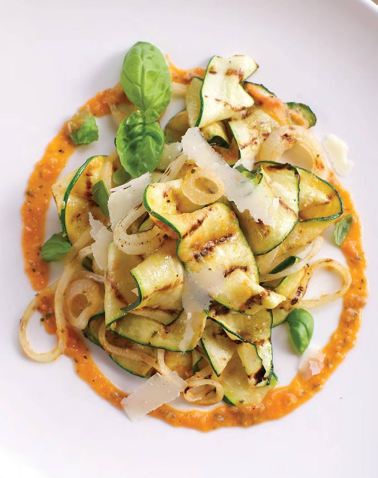 Grilled tomatoes add depth to a vinaigrette that dressed a zucchini and onion salad.