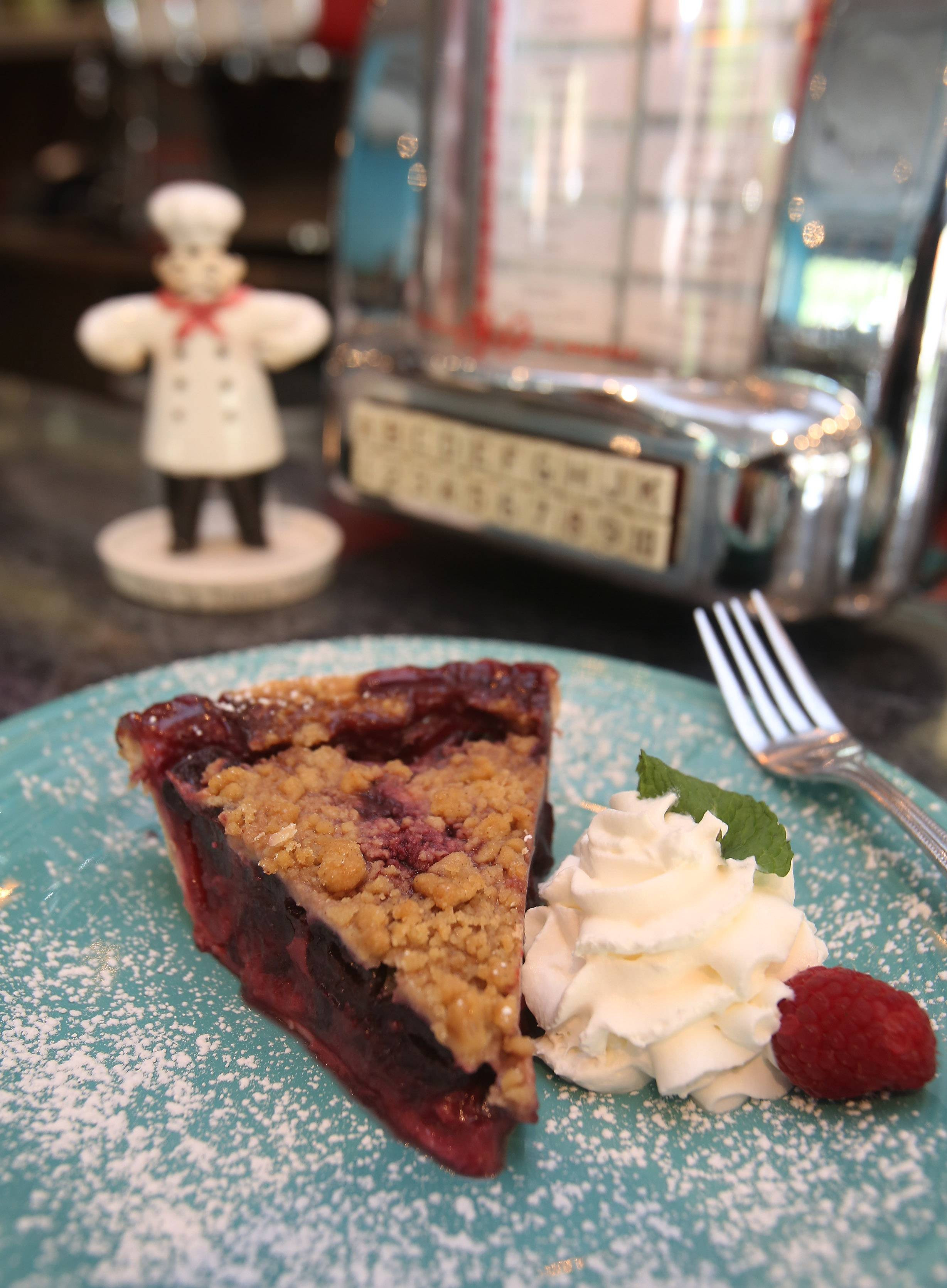 Sweet cherry streusel is on the summer pie rotation at Circa 57 in Arlington Heights.