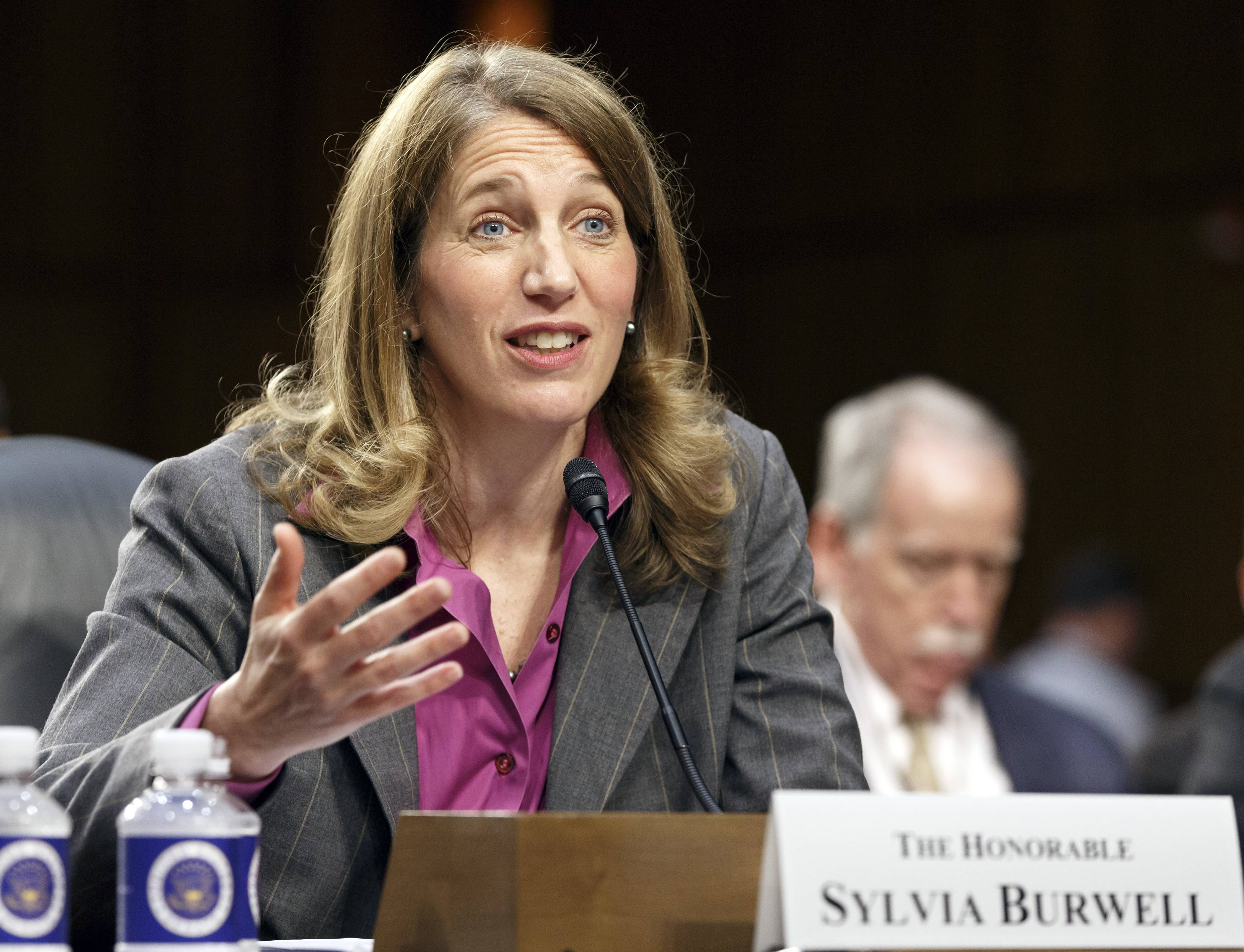 Sylvia Mathews Burwell, President Barack Obama's nominee to become secretary of Health and Human Services, is seen testifying on Capitol Hill in Washington last month. On Wednesday, Burwell easily passed a key test vote in the Senate.