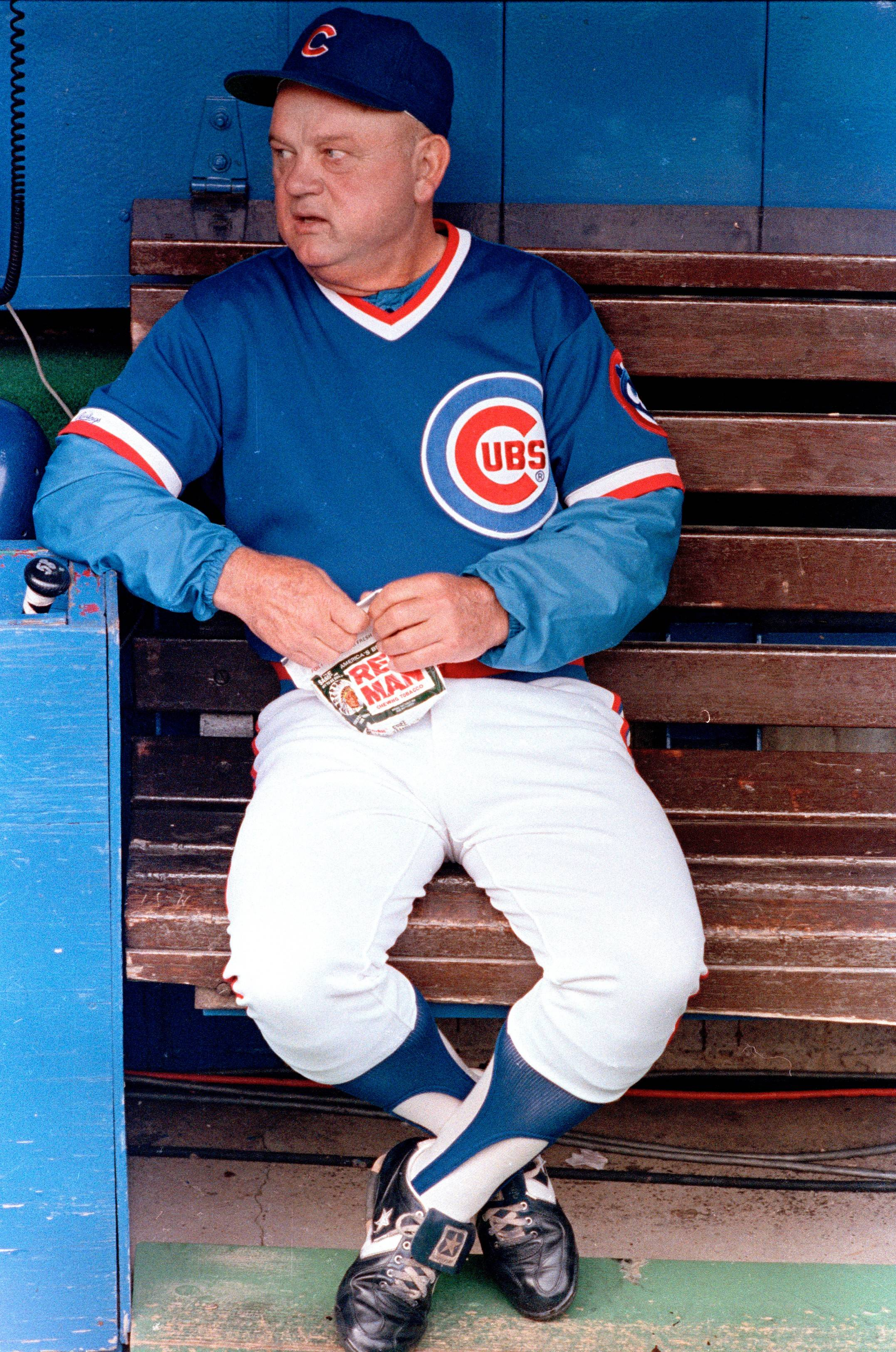 Cubs manager Don Zimmer sits in the dugout before a game against the St. Louis Cardinals in St. Louis in 1989. Zimmer died Wednesday in Florida.