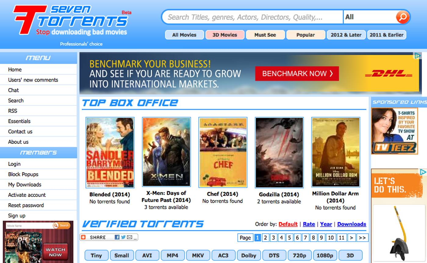 This screen shot shows the home page for the website seventorrents.org, featuring a banner ad for shipping company DHL. Movie and music piracy thrives online in part because crafty website operators are siphoning advertising dollars from major companies.