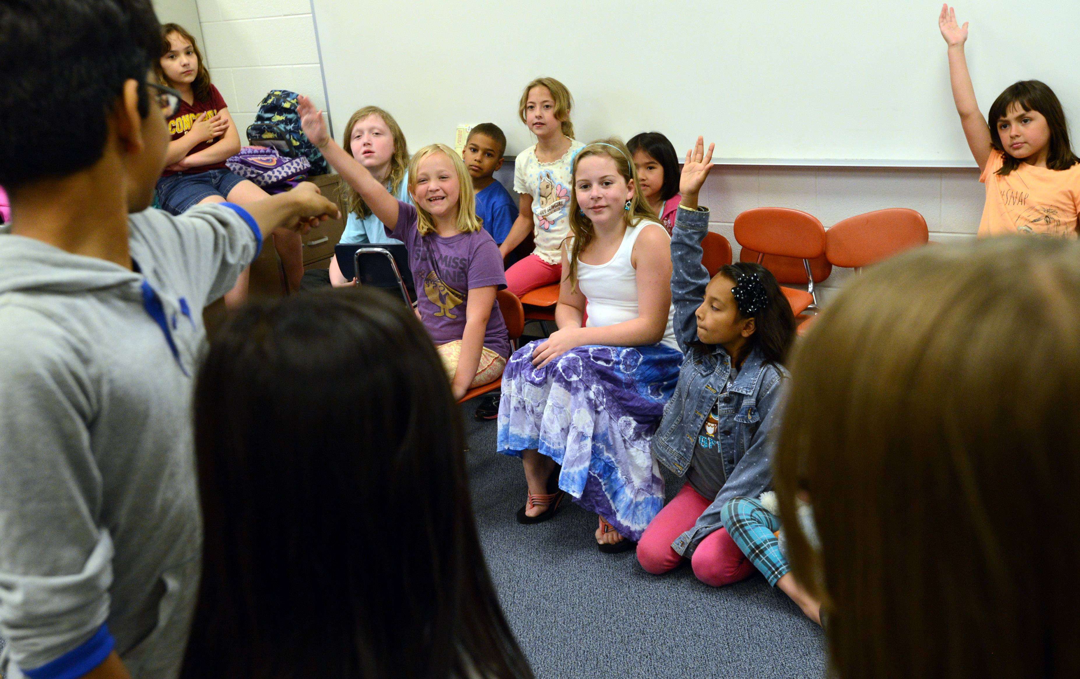 Students participate in theater-related activities Wednesday during the Summer Enrichment Program at Mechanics Grove School in Mundelein.