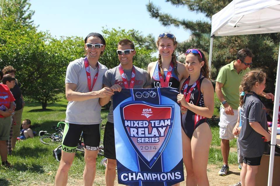 Winning Mixed Team Relay participants include: Alex Arman, Ryan Giuliano, Alex Lorenz and Victoria Clinton.