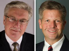 Democrat Dennis Anderson, left, opposes Republican Randy Hultgren in the 14th Congressional District race