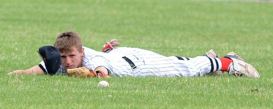 Huntley's Brandon Altergott looks up after a dive for the ball came up short in the fourth inning of the Class 4A McHenry sectional semifinal vs. Prairie Ridege on Wednesday, June 4.