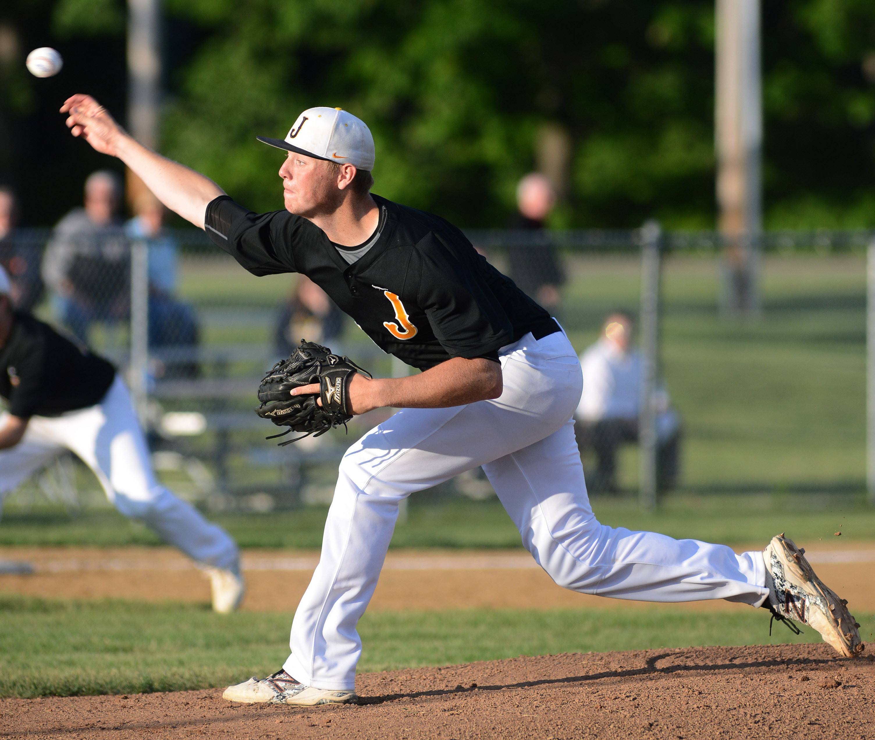Jacobs' Reilly Peltier pitches to Hononegah in the Class 4A McHenry sectional semifinal on Wednesday, June 4.