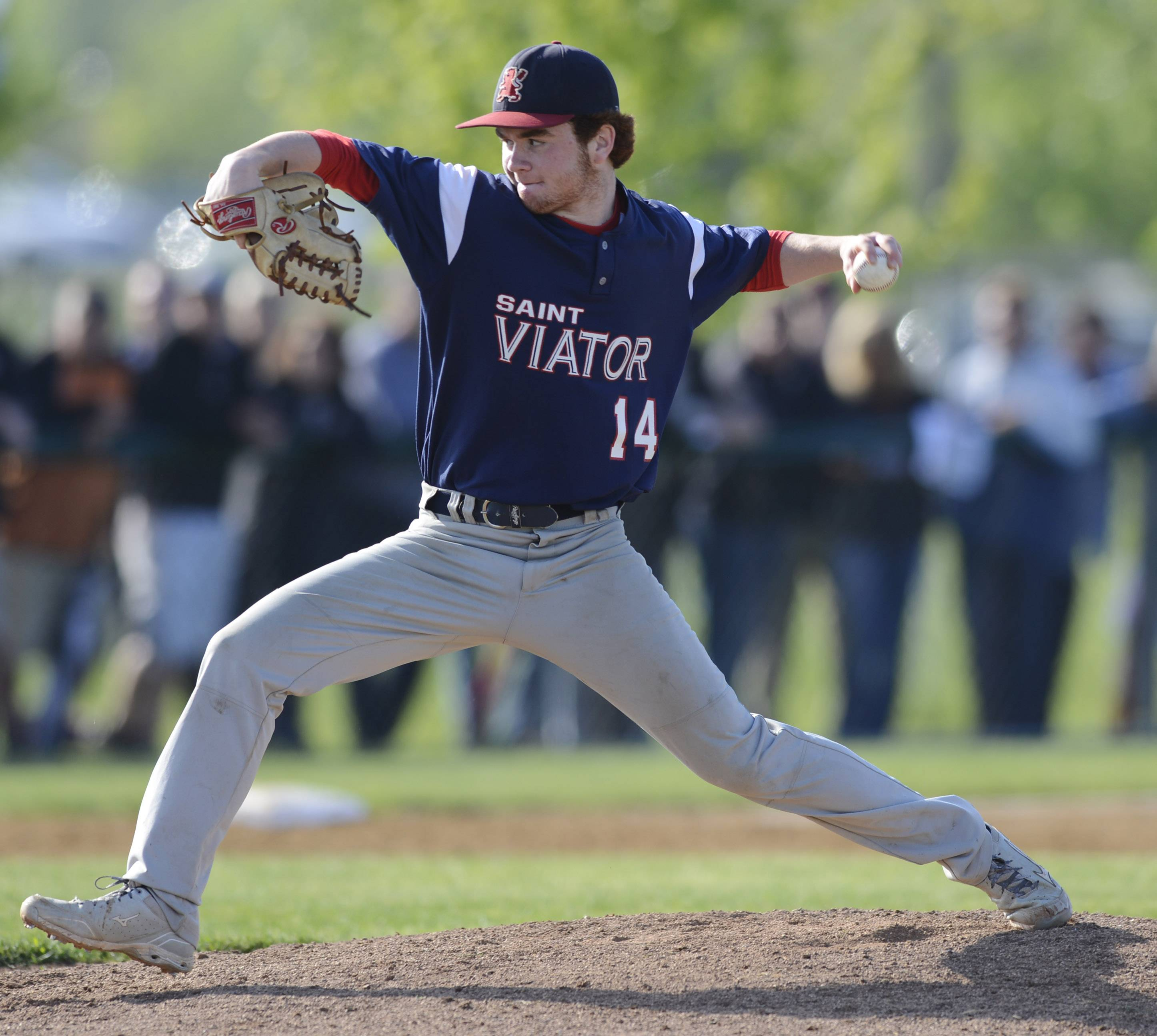 St. Viator relief pitcher Mike Piet delivers to the plate during Class 4A baseball sectional semifinal play at Glenbrook South on Wednesday.