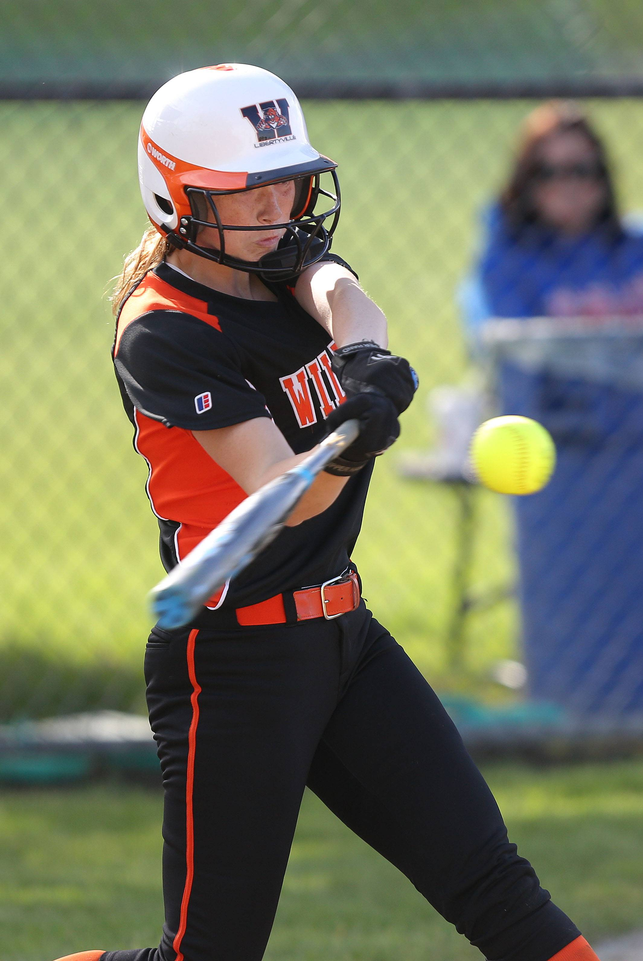 Libertyville's Hannah Herrarty connects in sectional semifinal play against Lake Zurich on Wednesday at Stevenson.