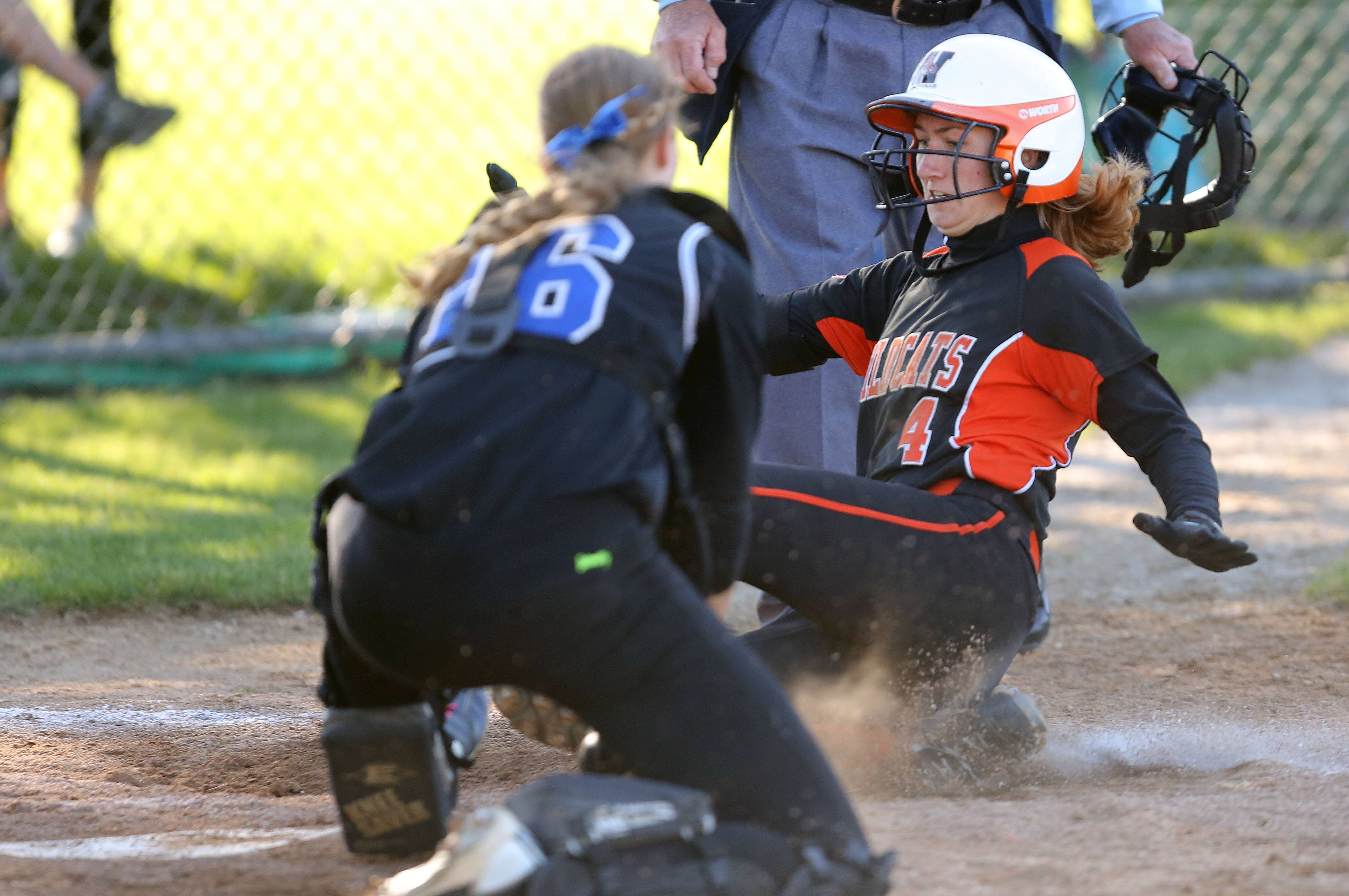 Libertyville's Tayler Oberman, right, scores on Lake Zurich's Amanda Guercio in sectional semifinal play Wednesday at Stevenson.