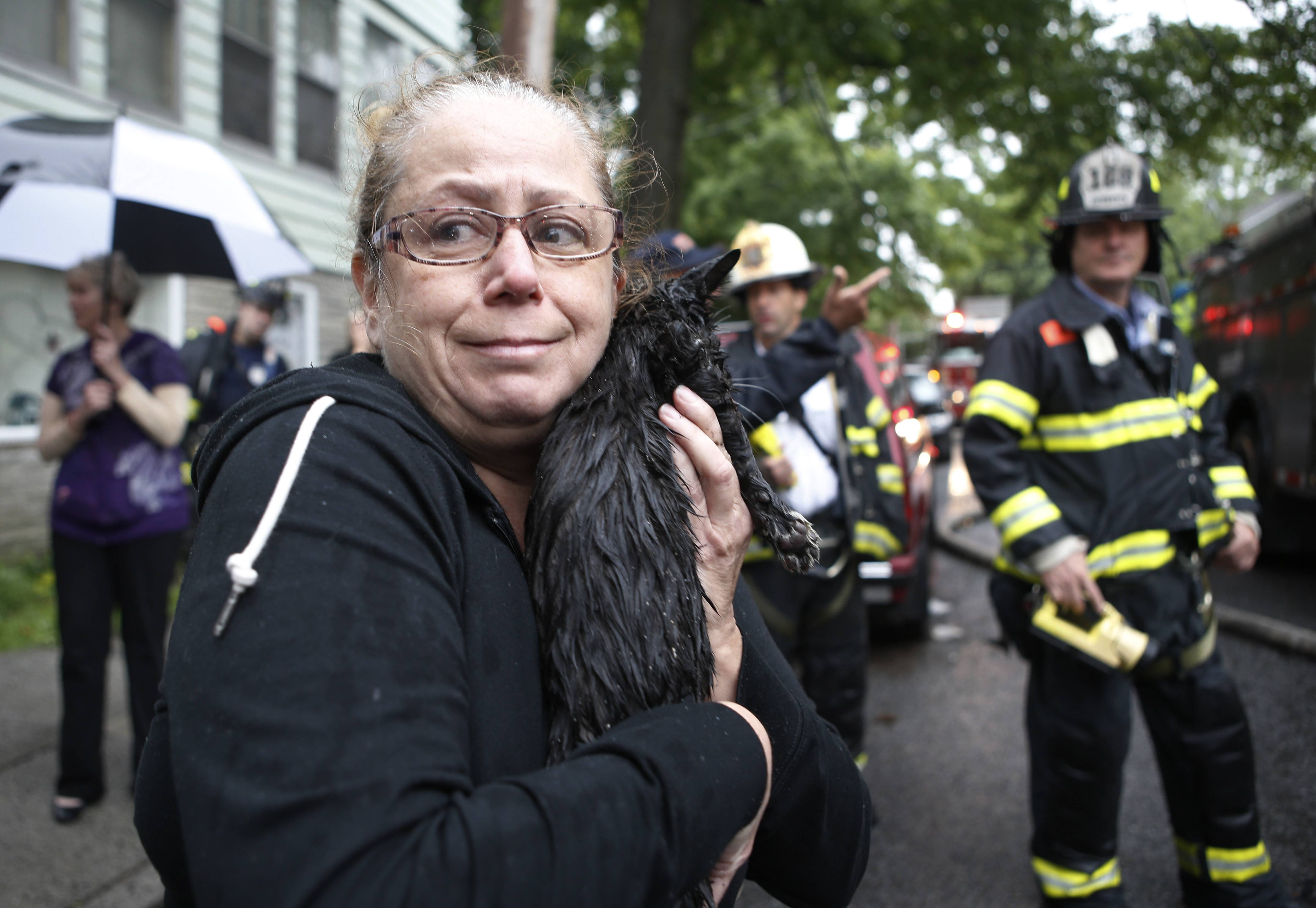 Cindy Piscopo's cat, Zack, was found by a firefighter after members of his battalion battled a blaze in a series of townhouses, including Piscopo's home in the Staten Island borough of New York, Thursday, June 5, 2014.