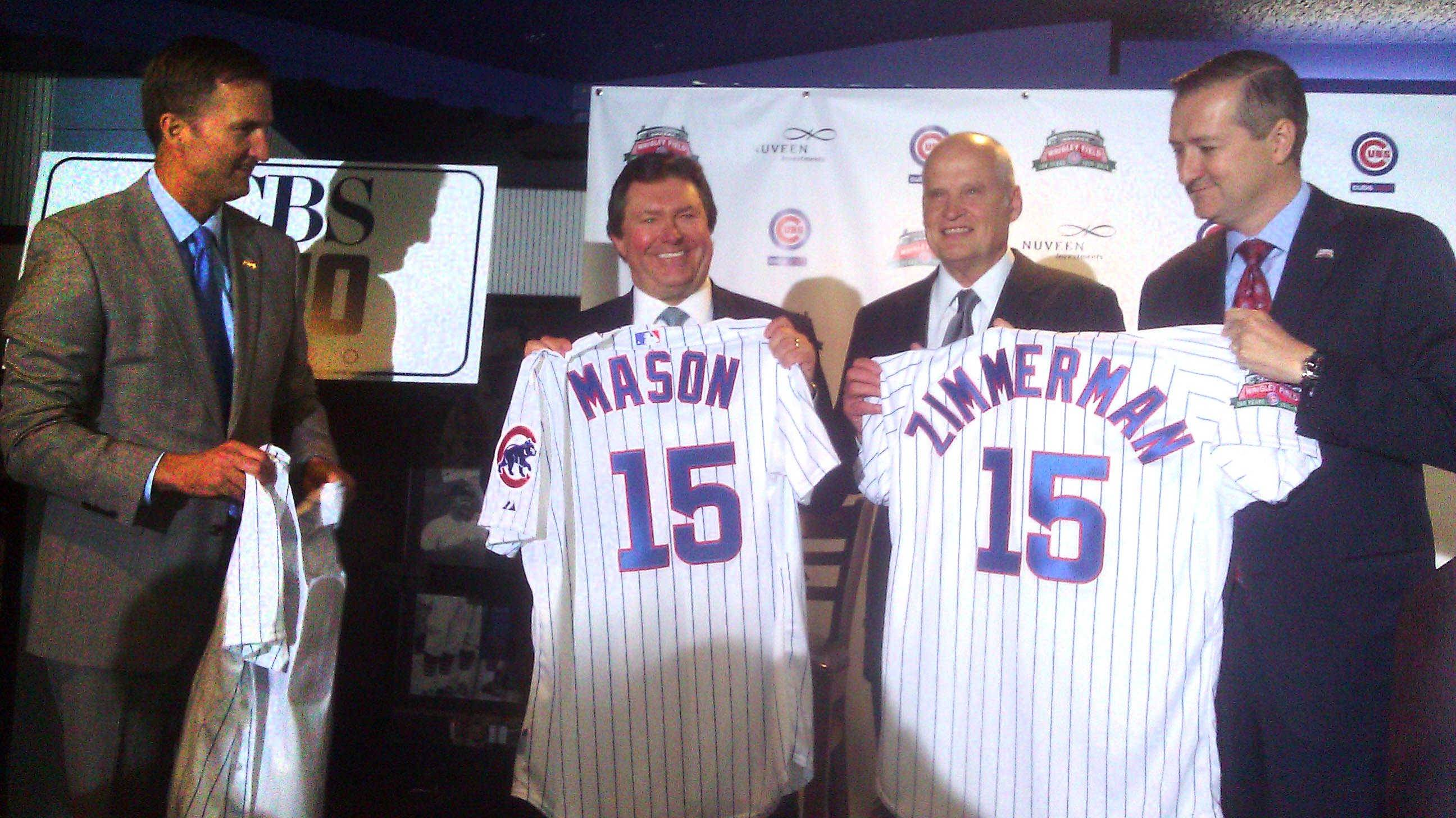 From left, Cubs executive Crane Kenney, CBS officials Dan Mason and Rod Zimmerman, joined Cubs chairman Tom Ricketts on Thursday to talk about WBBM 780-AM becoming the new radio home for Cubs baseball.