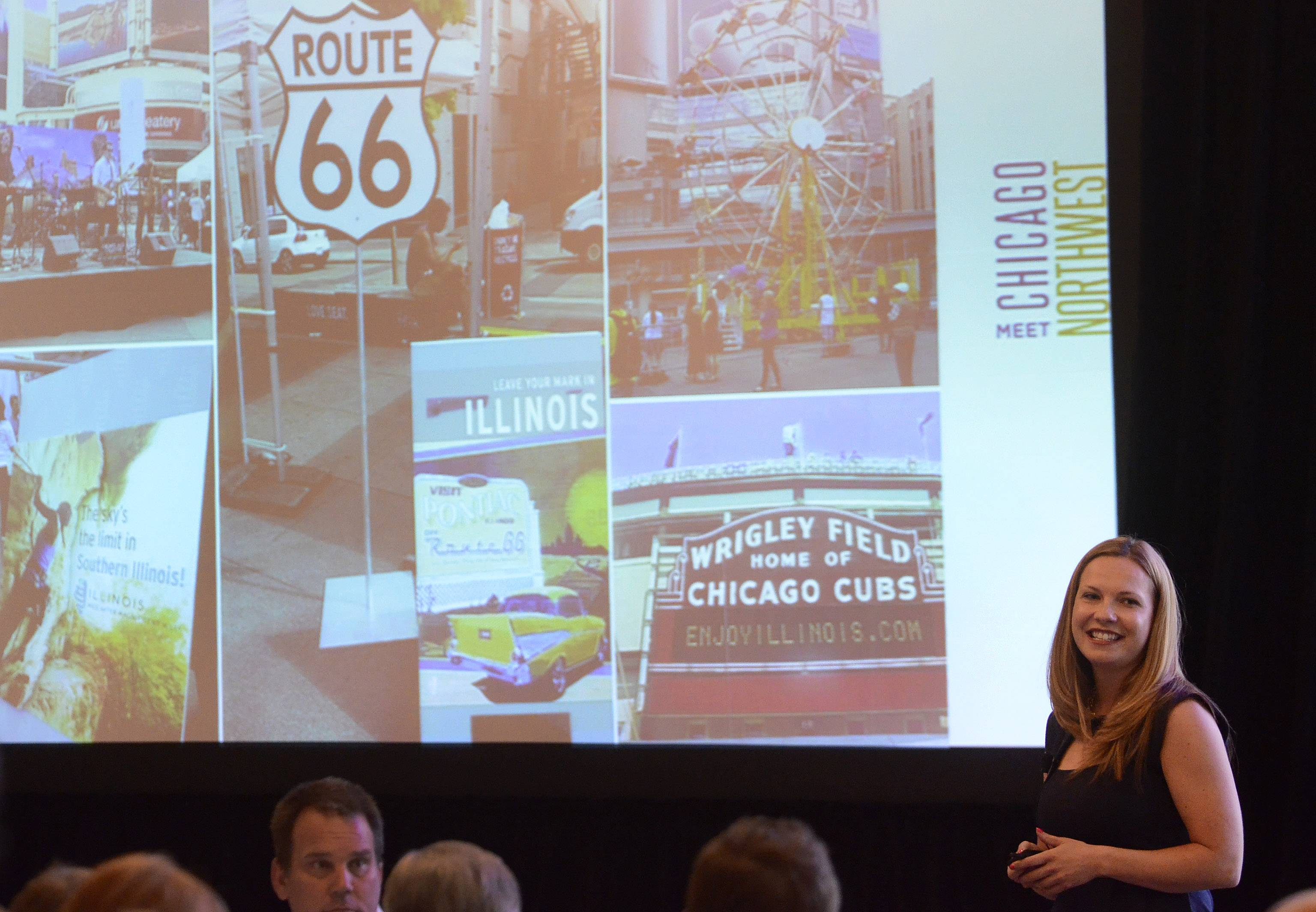 Guest presenter Jen Hoelzle, deputy director of the Illinois Office of Tourism, discusses recent success in the state's efforts to attract visitors during the annual luncheon of Meet Chicago Northwest at Belvedere Events & Banquets in Elk Grove Village Wednesday.