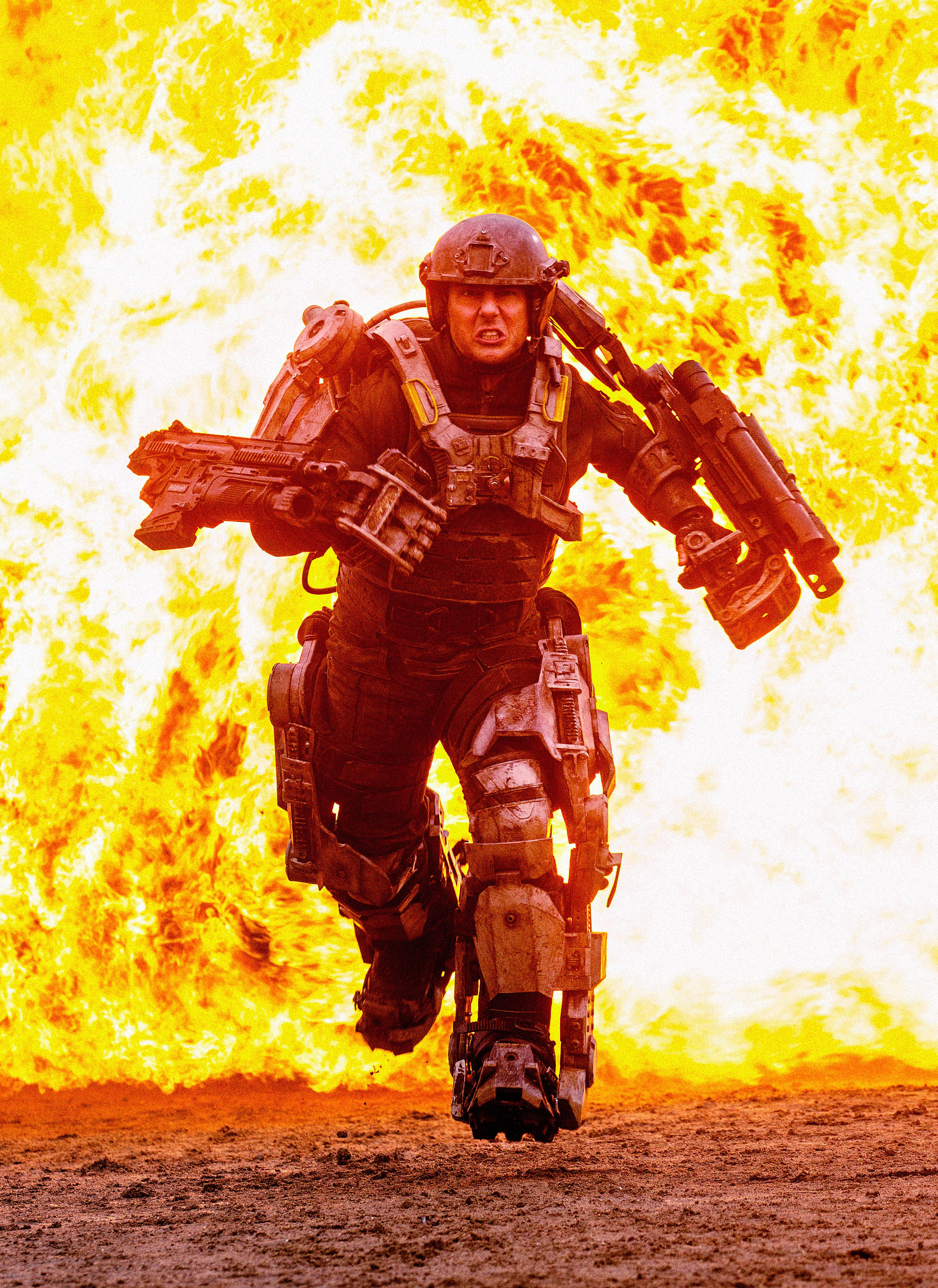 "Major William Cage (Tom Cruise) battles aliens over and over again in the time-shifting thriller ""Edge of Tomorrow."""