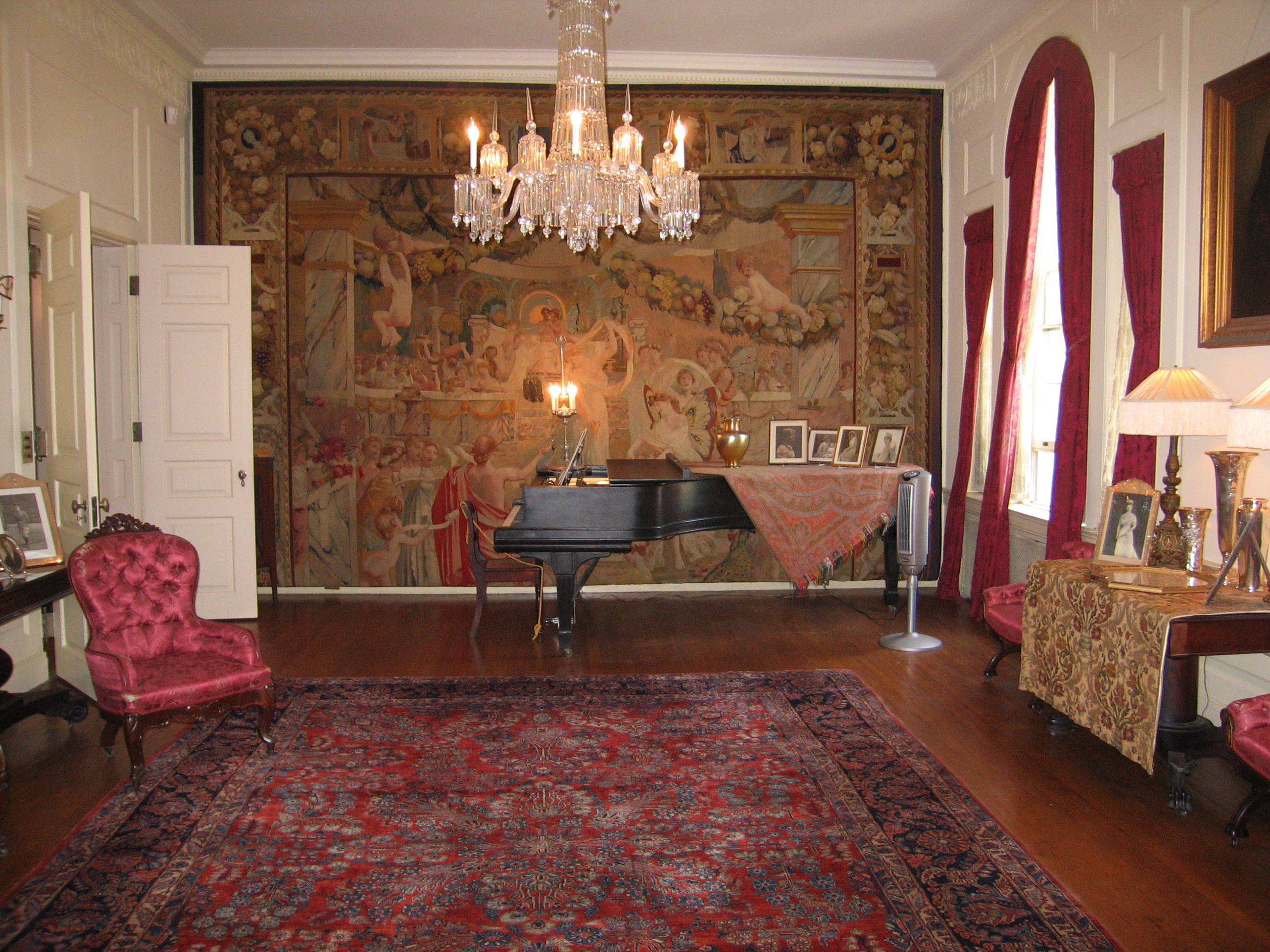 Visitors can see the drawing room in the Woodrow Wilson House in Washington, D.C., where he lived after leaving office. Wilson's wife, Edith, wanted to buy the home partly because there was room on the wall to hang a 17th-century tapestry that had been a gift to the Wilsons from France.