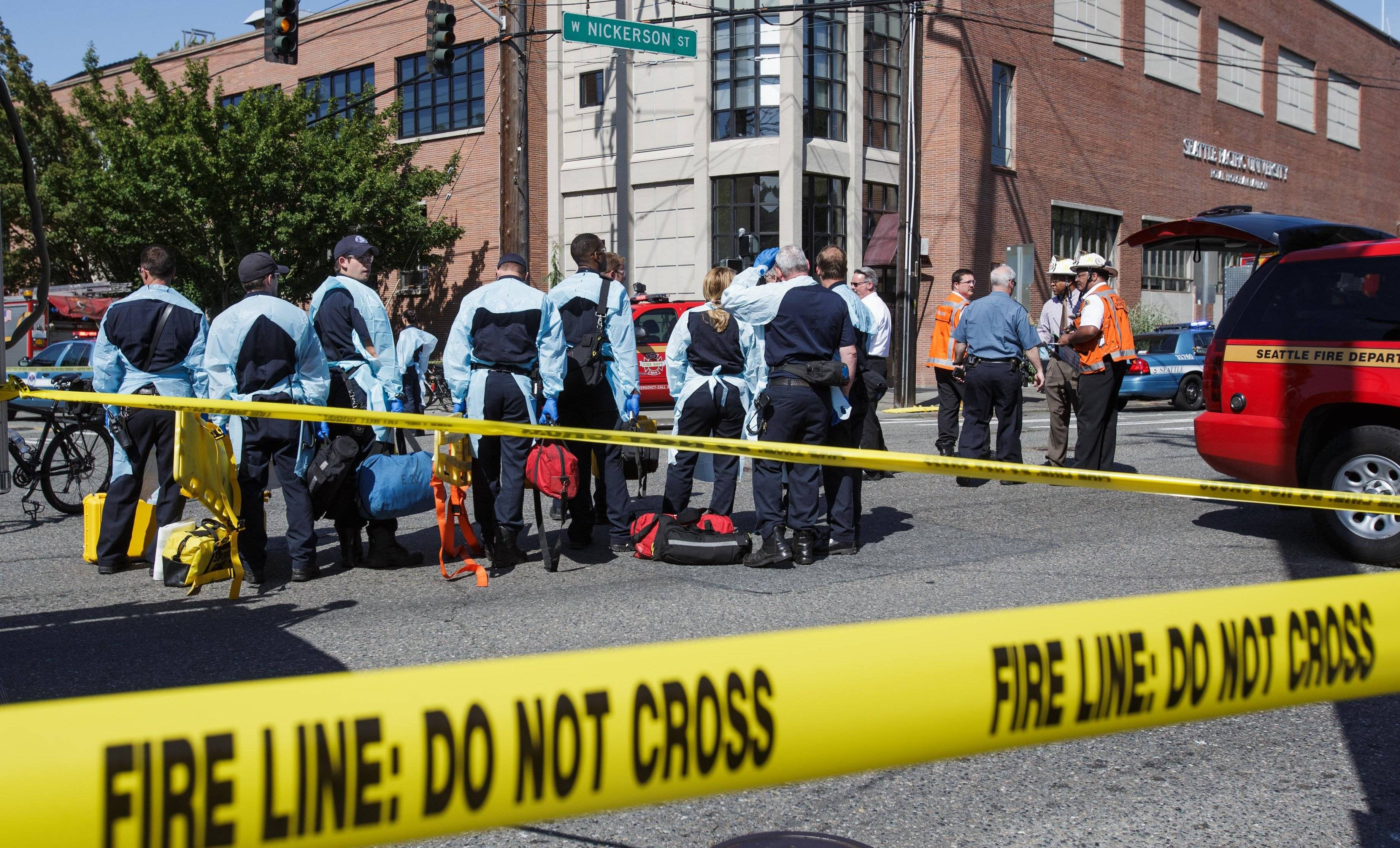 Authorities respond to a shooting at Seattle Pacific University campus Thursday in Seattle.